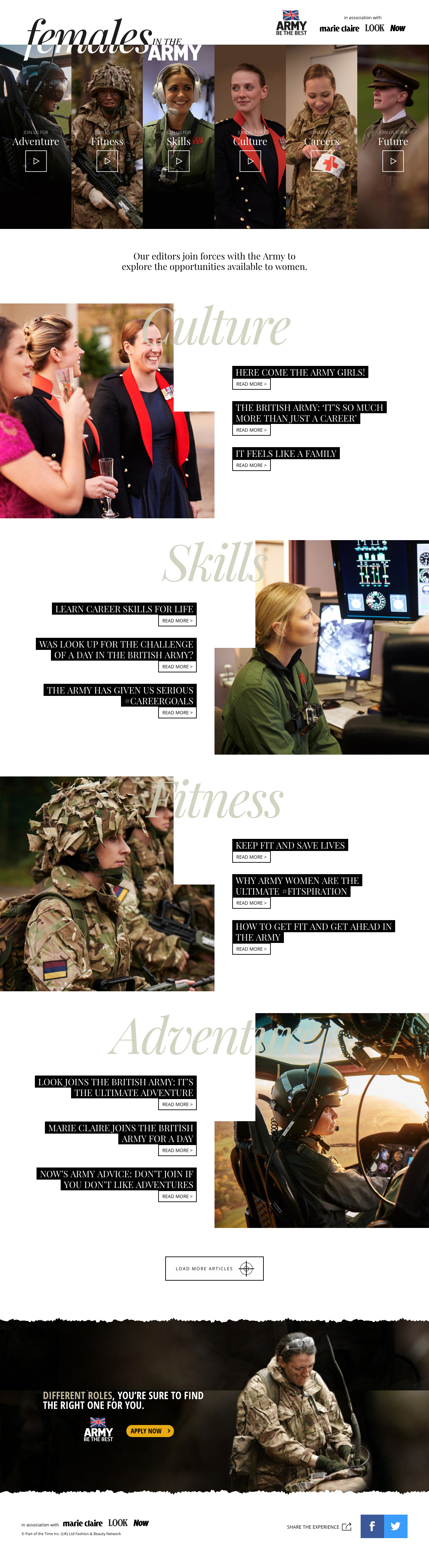 Females in the Army Website Screenshot
