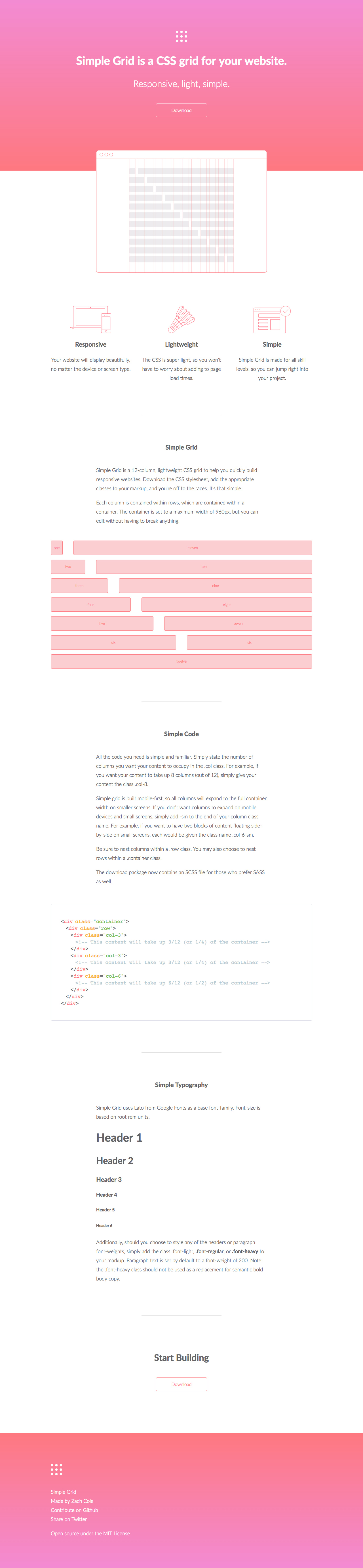 Simple Grid Website Screenshot