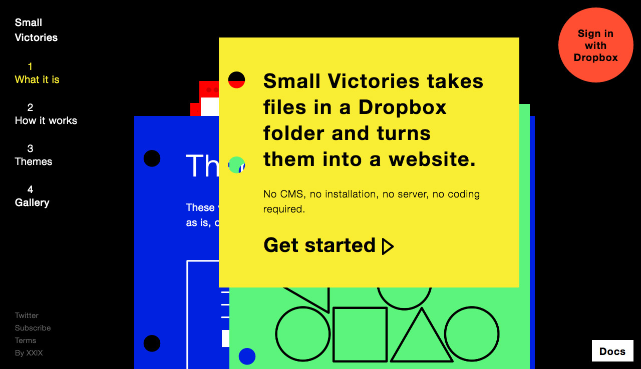 Small Victories Website Screenshot
