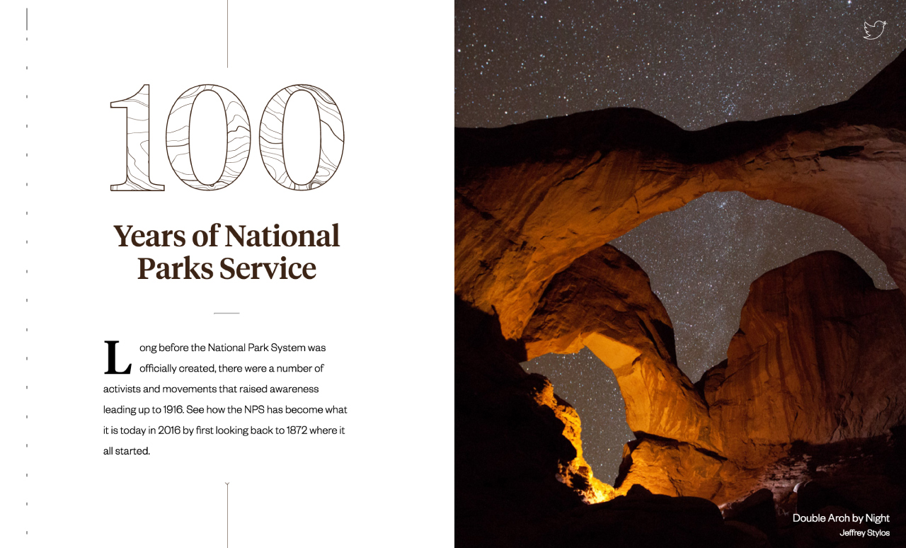 100 Years of National Parks Website Screenshot