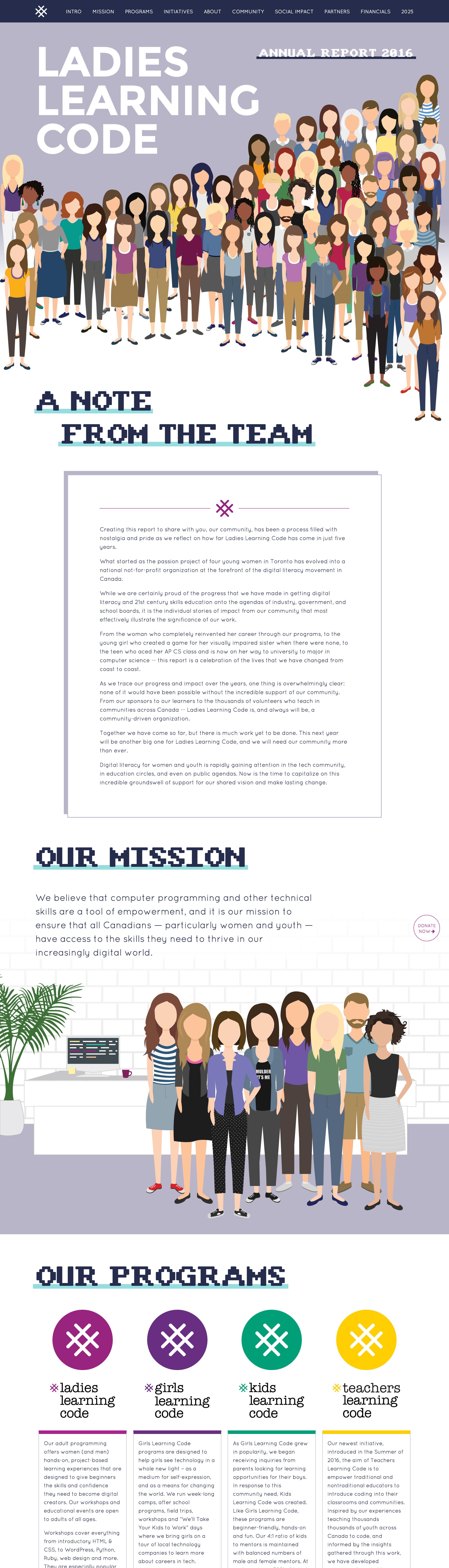 Ladies Learning Code Annual Report Website Screenshot