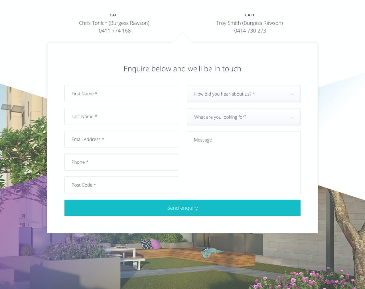 Contact Form - Motive Apartments Screenshot