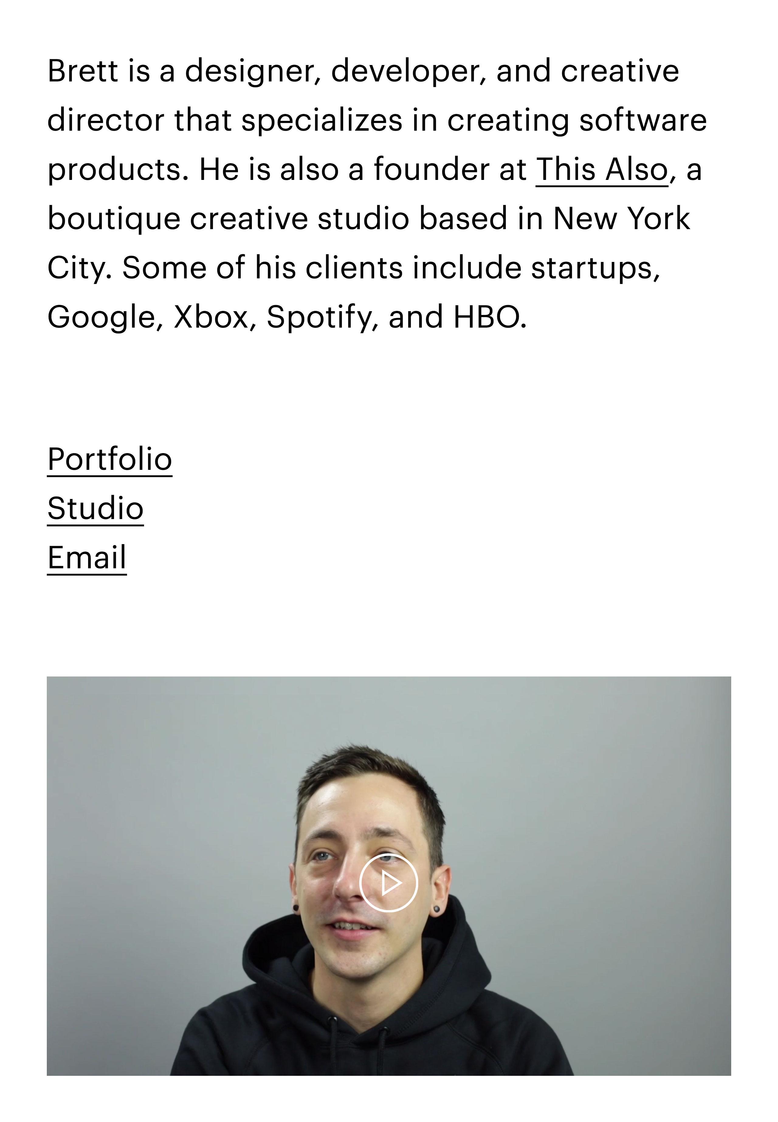 Brett Bergeron Website Screenshot