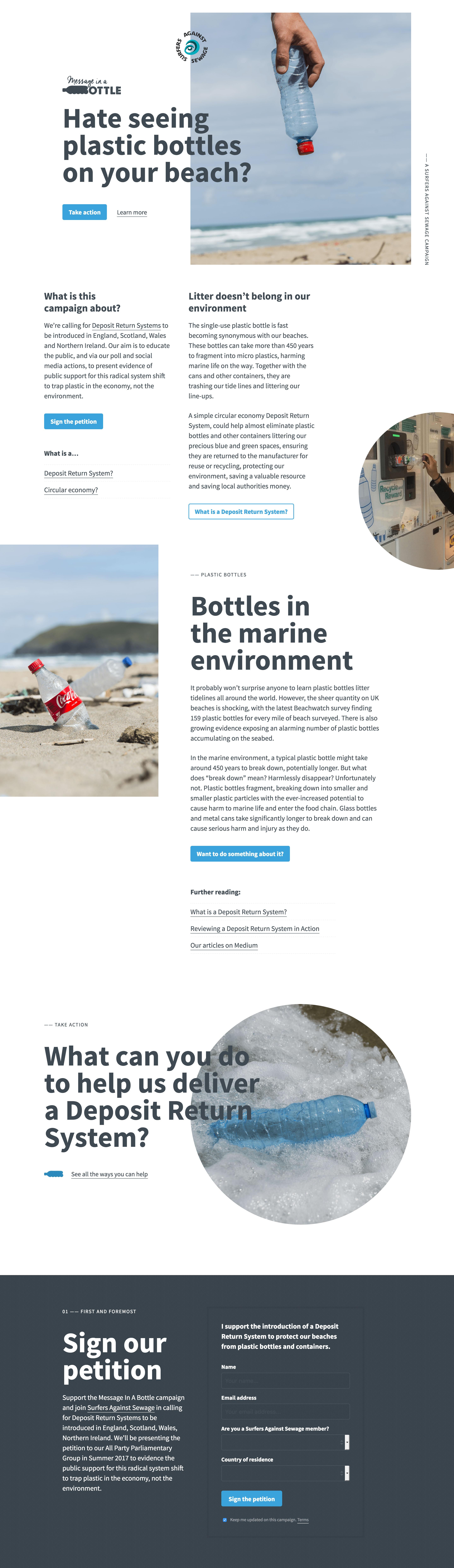 Message In A Bottle Website Screenshot