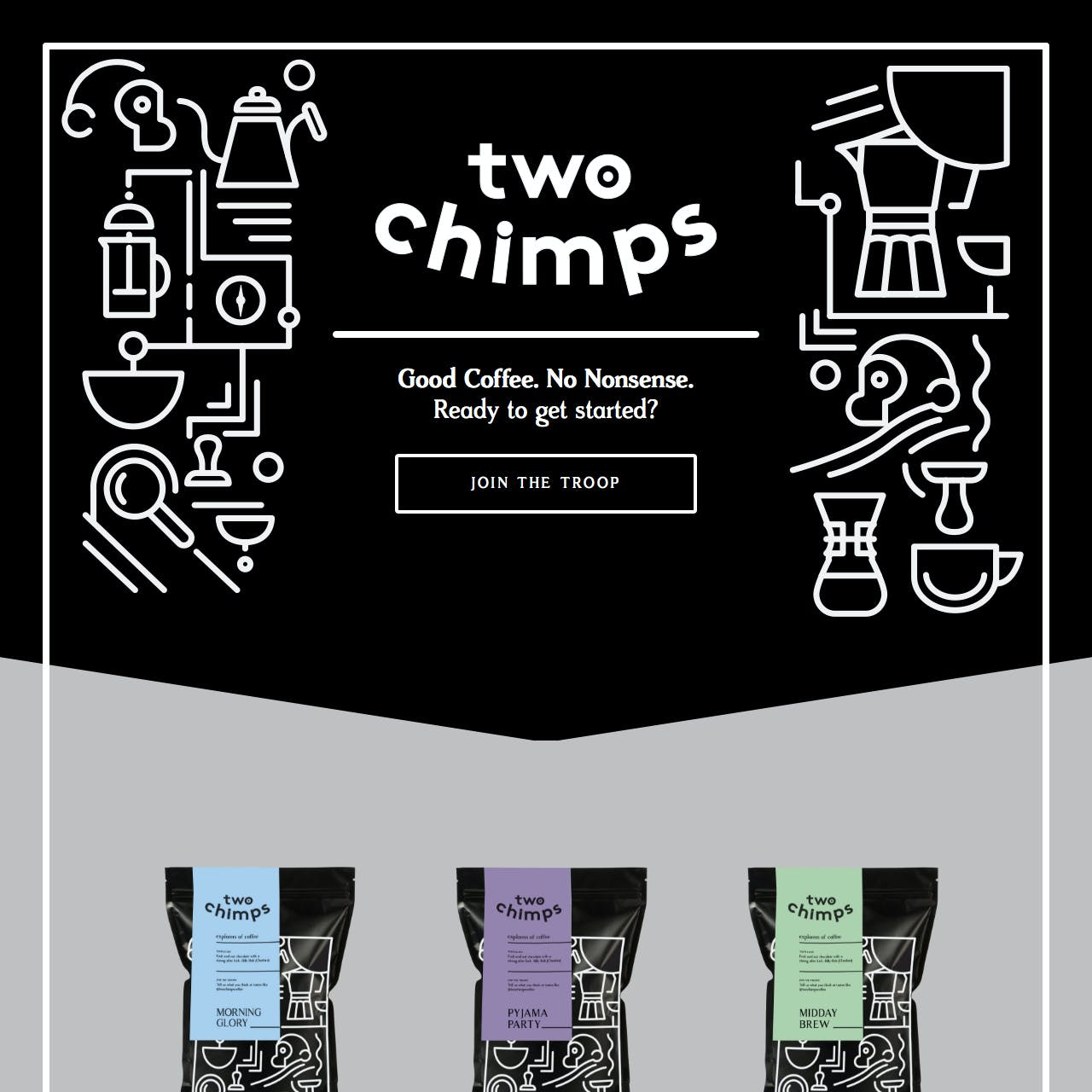 Two Chimps Coffee Website Screenshot