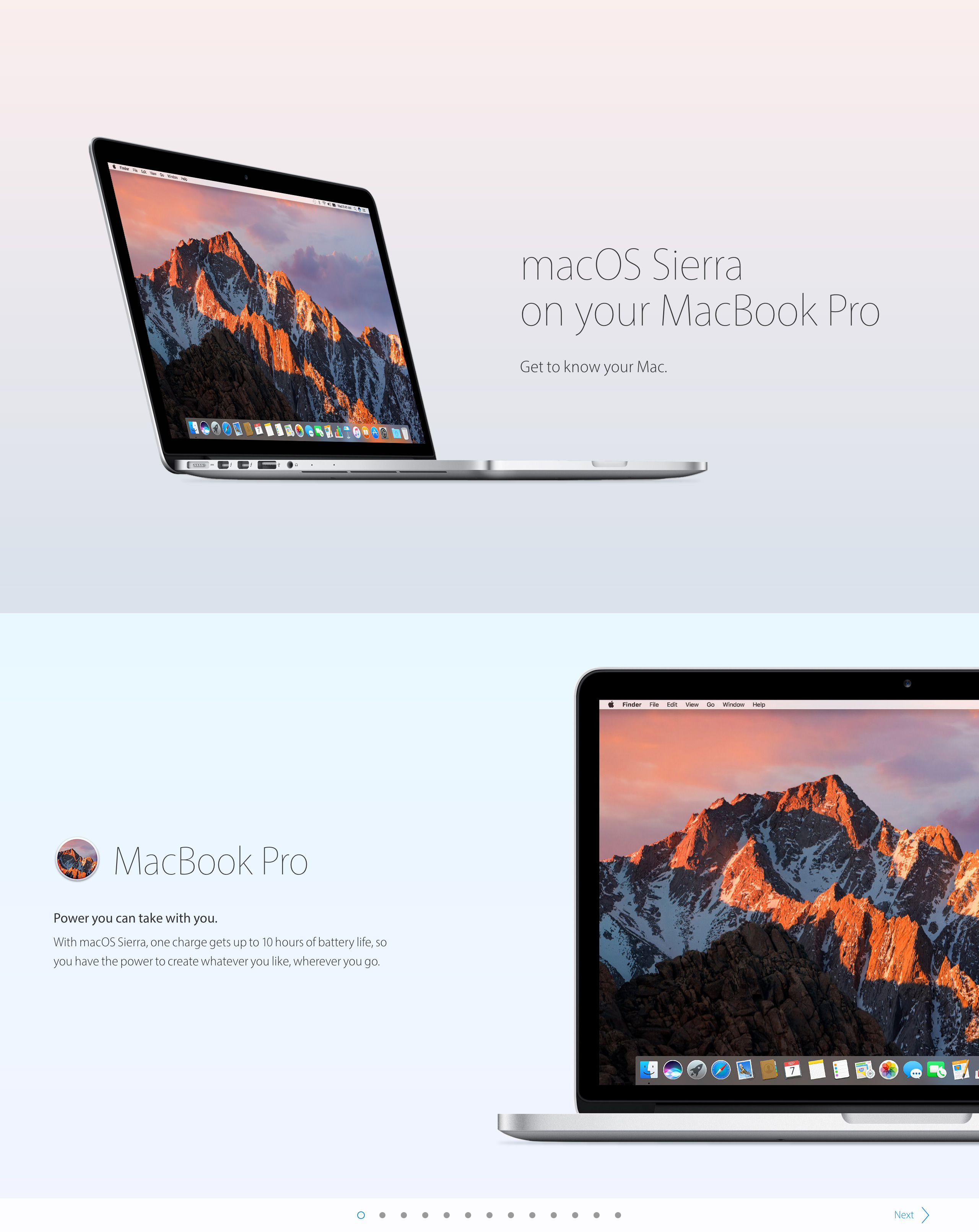 macOS Sierra on your MacBook Pro Website Screenshot