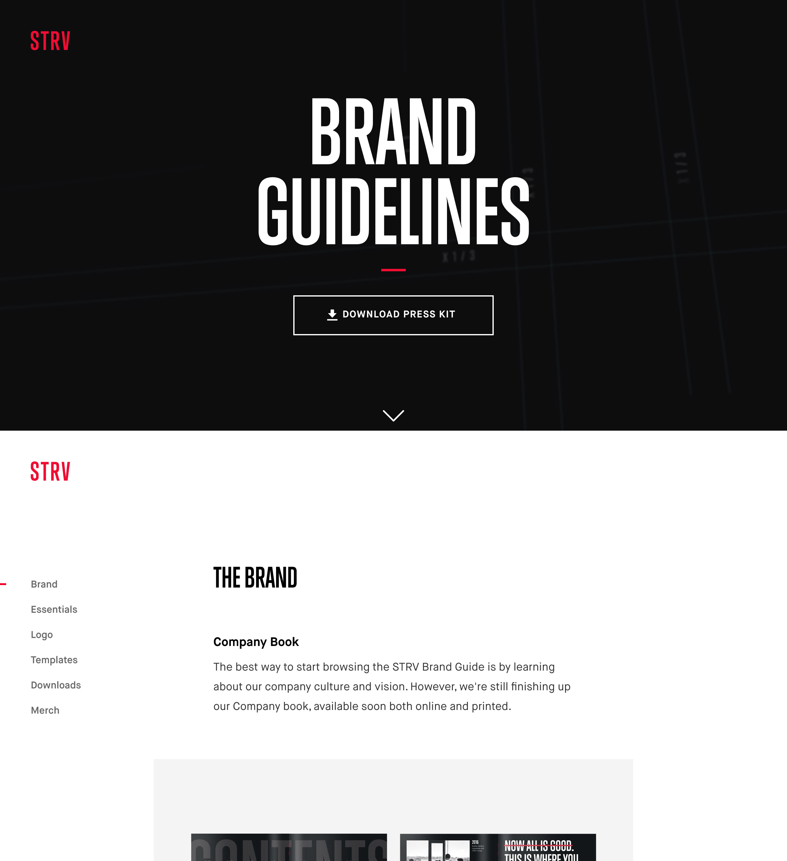 STRV Brand Guidelines Website Screenshot