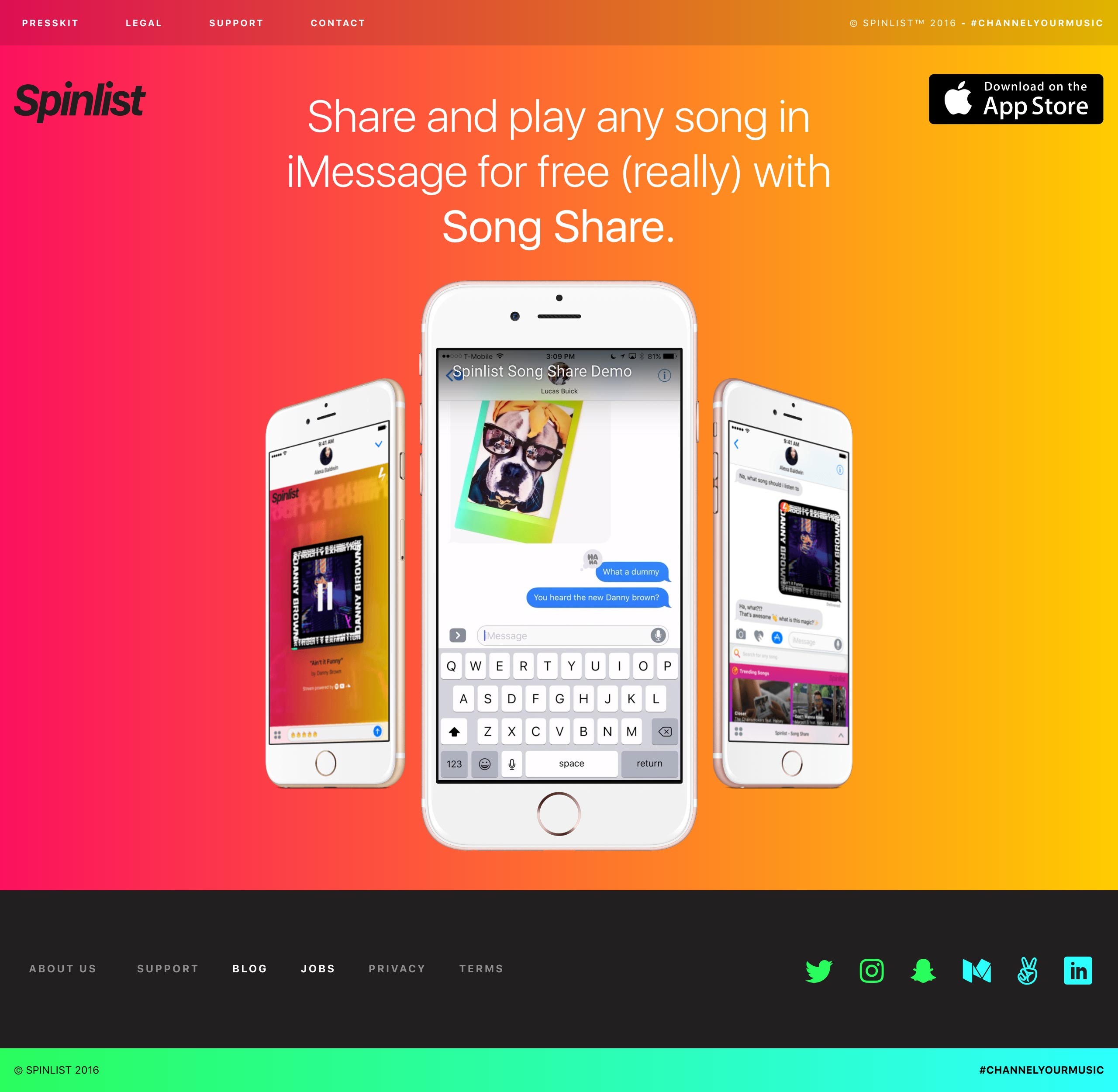Spinlist SongShare Website Screenshot
