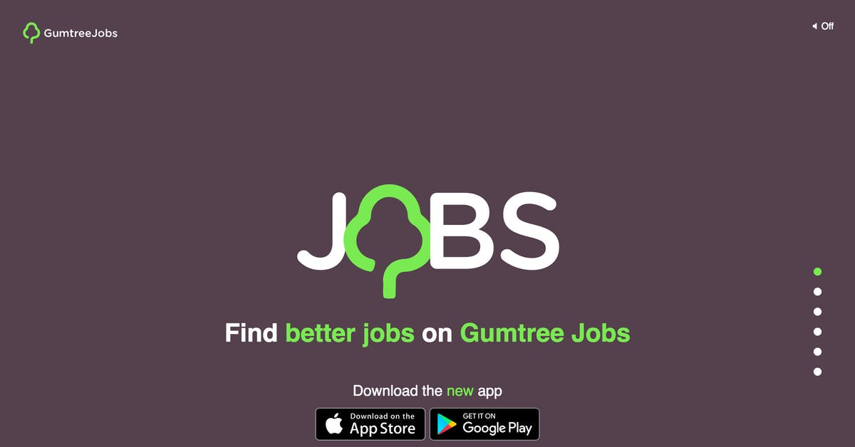 Gumtree Jobs One Page Website Award