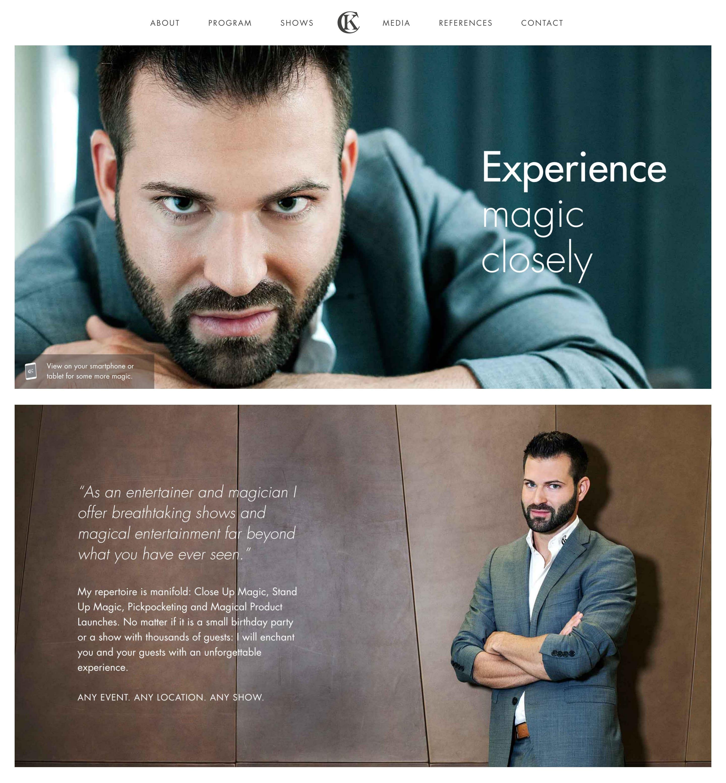 Christoph Kulmer – Magic Entertainment Website Screenshot