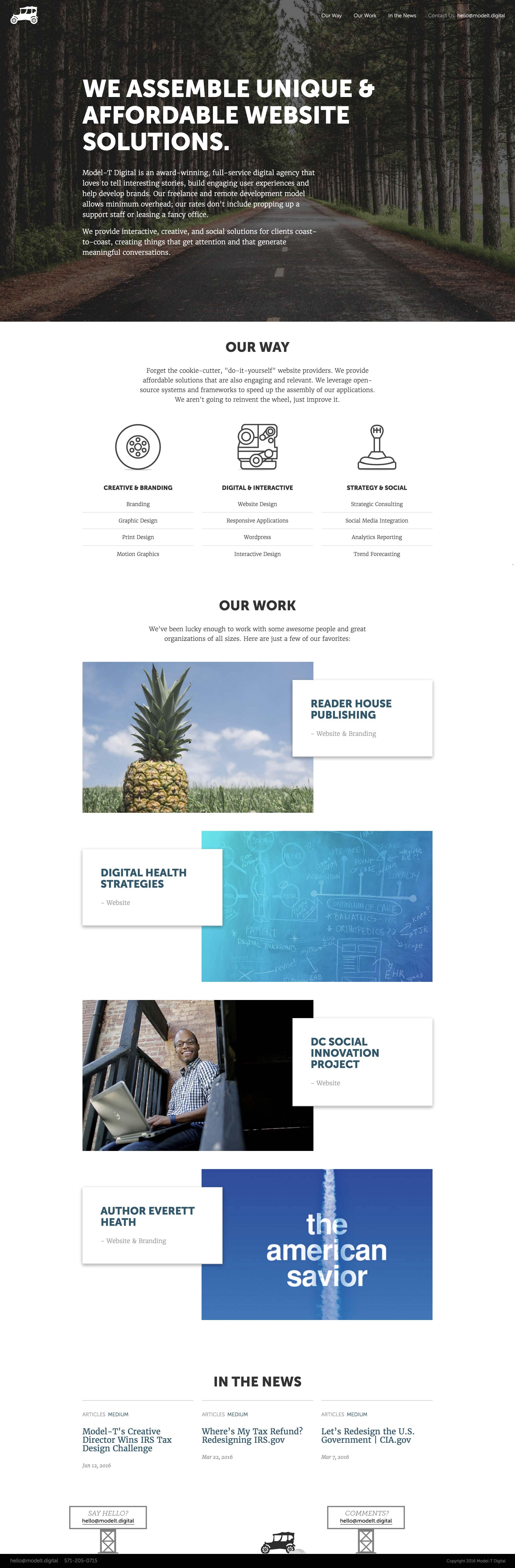 Model T Digital Website Screenshot