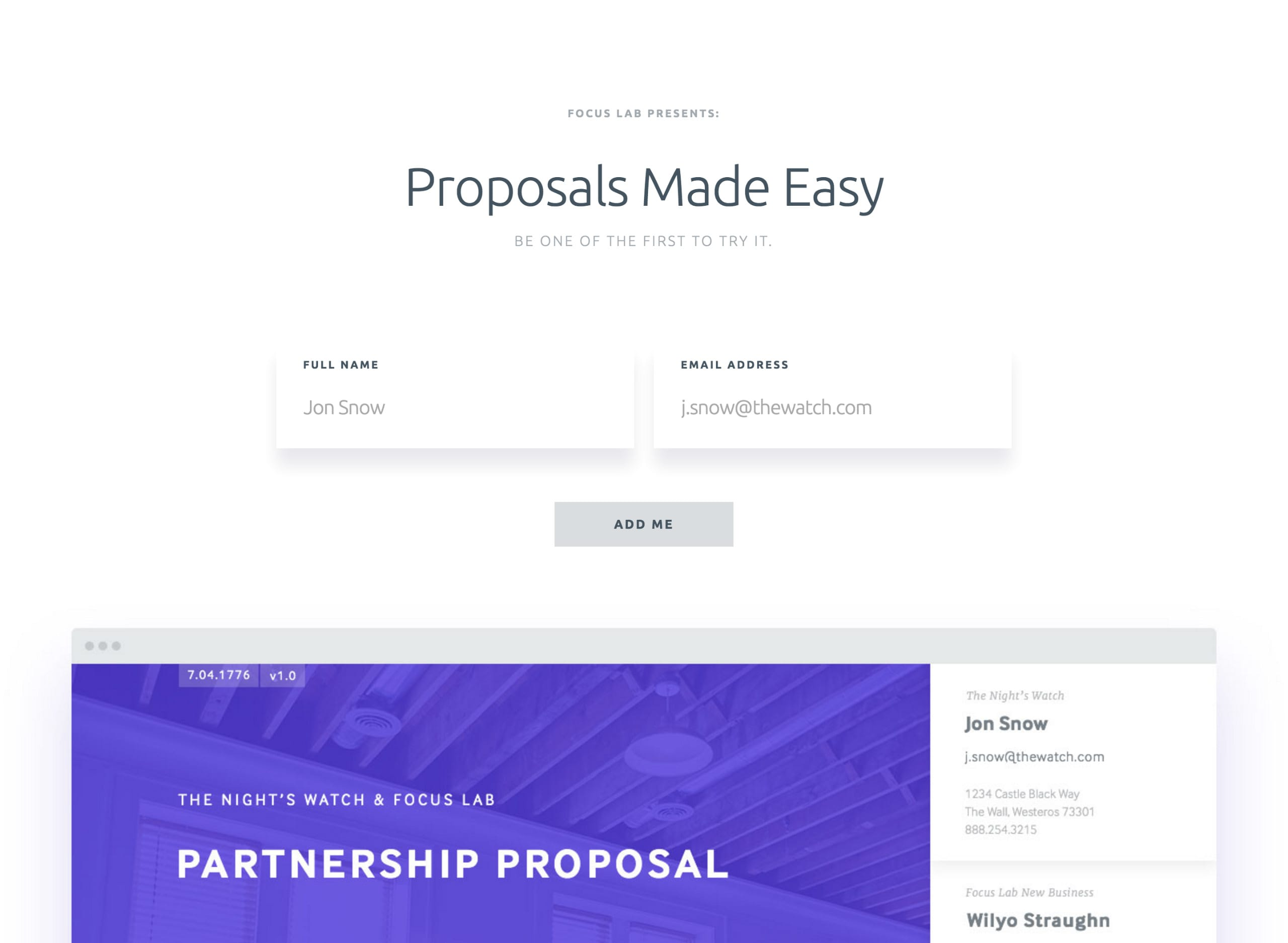 Proposals by Focus Lab Website Screenshot