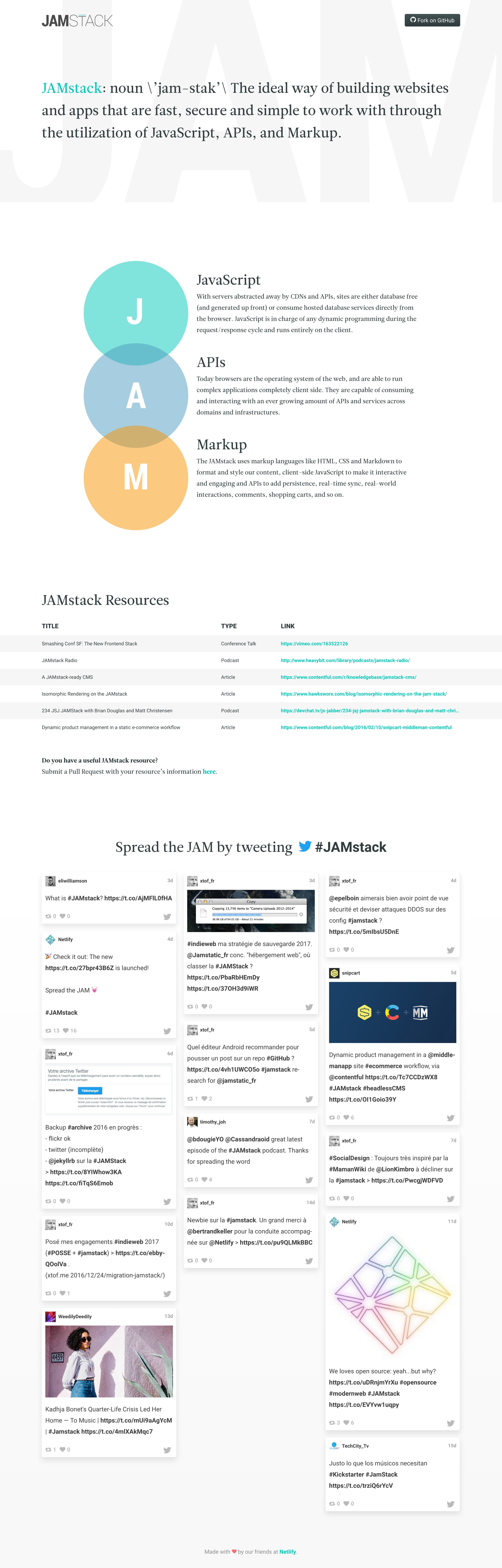 JAMstack Website Screenshot