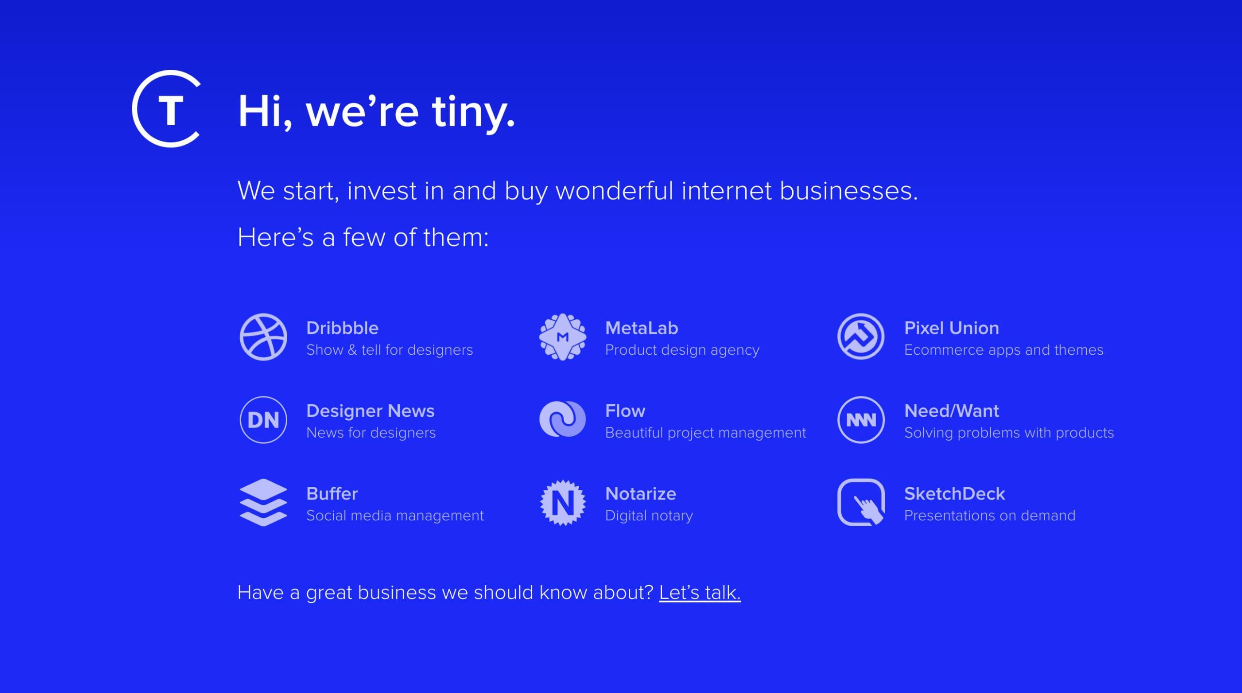 Tiny Website Screenshot
