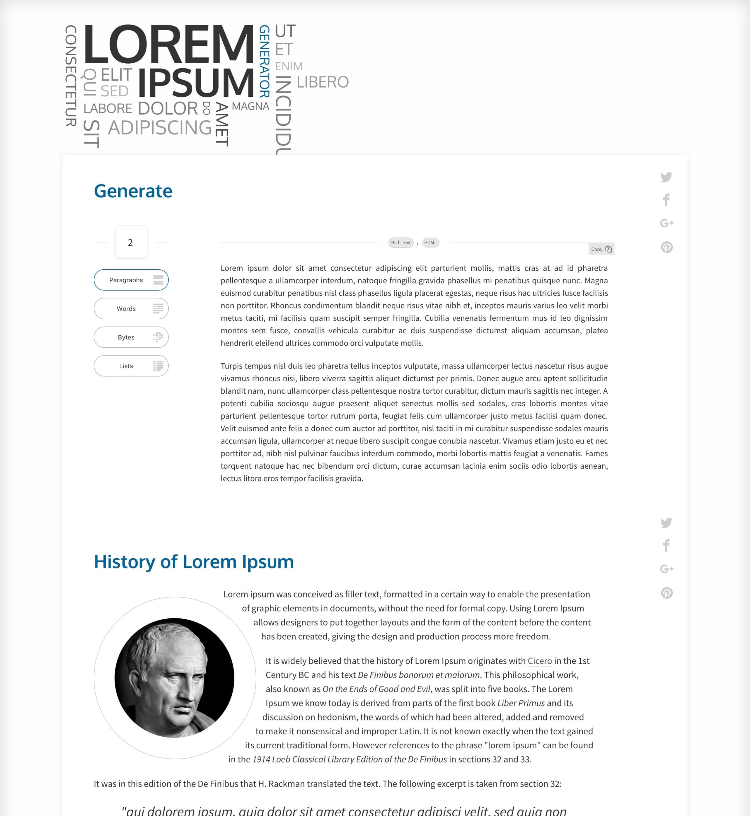 Lorem Ipsum Generator Website Screenshot
