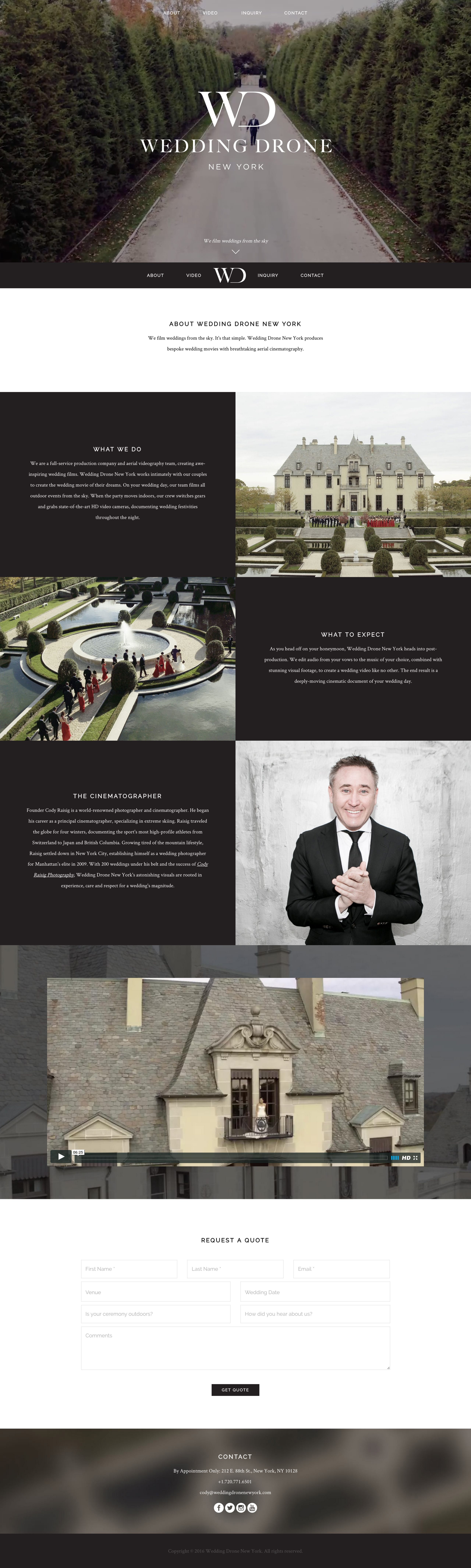 Wedding Drone New York Website Screenshot
