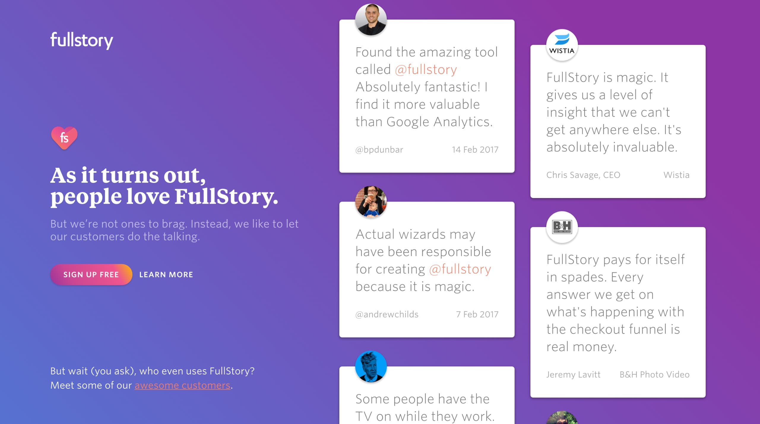FullStory – Wall of Love Website Screenshot