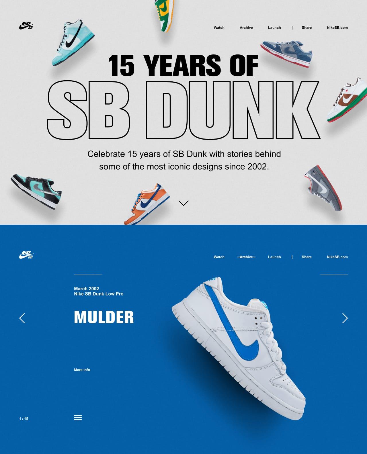Nike – 15 Years of SB Dunk Website Screenshot