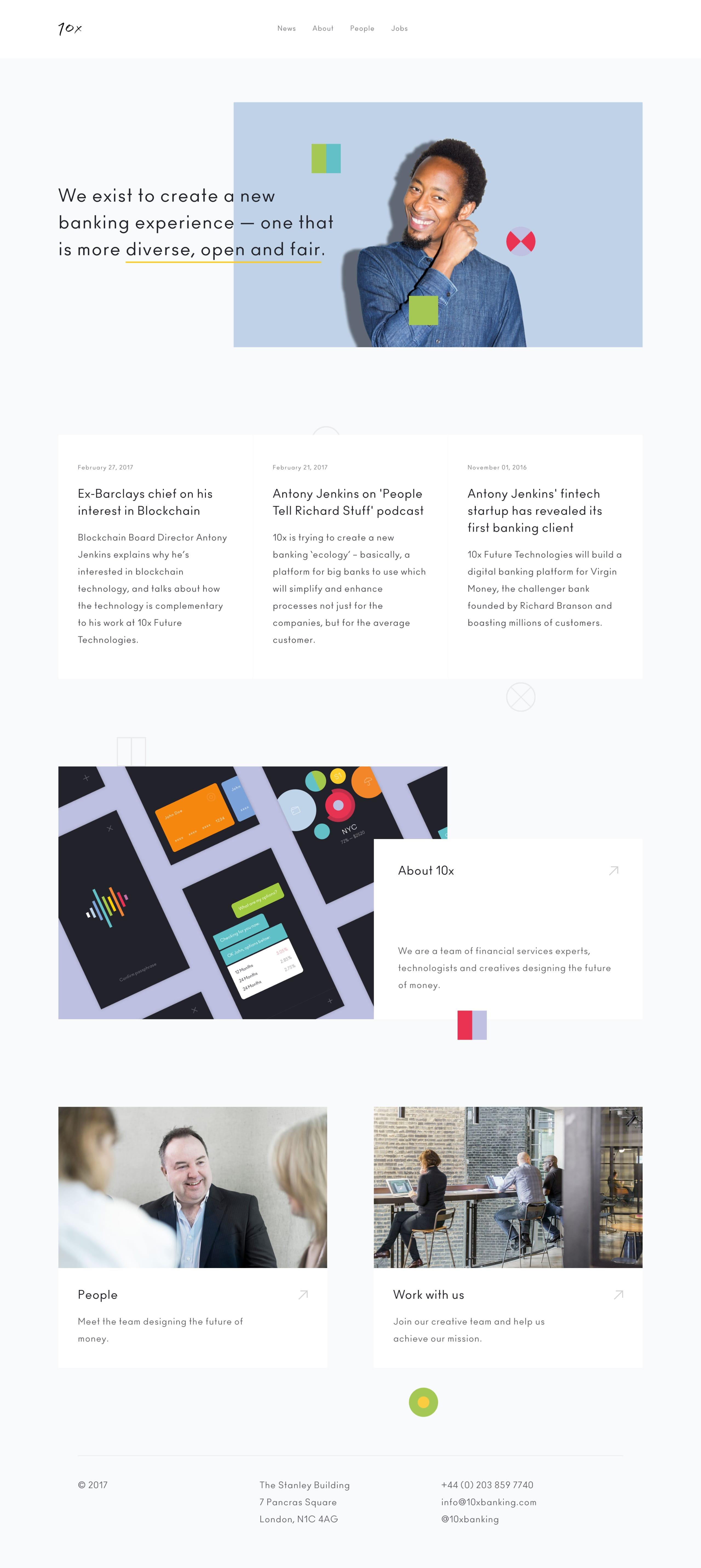 10x Banking Website Screenshot