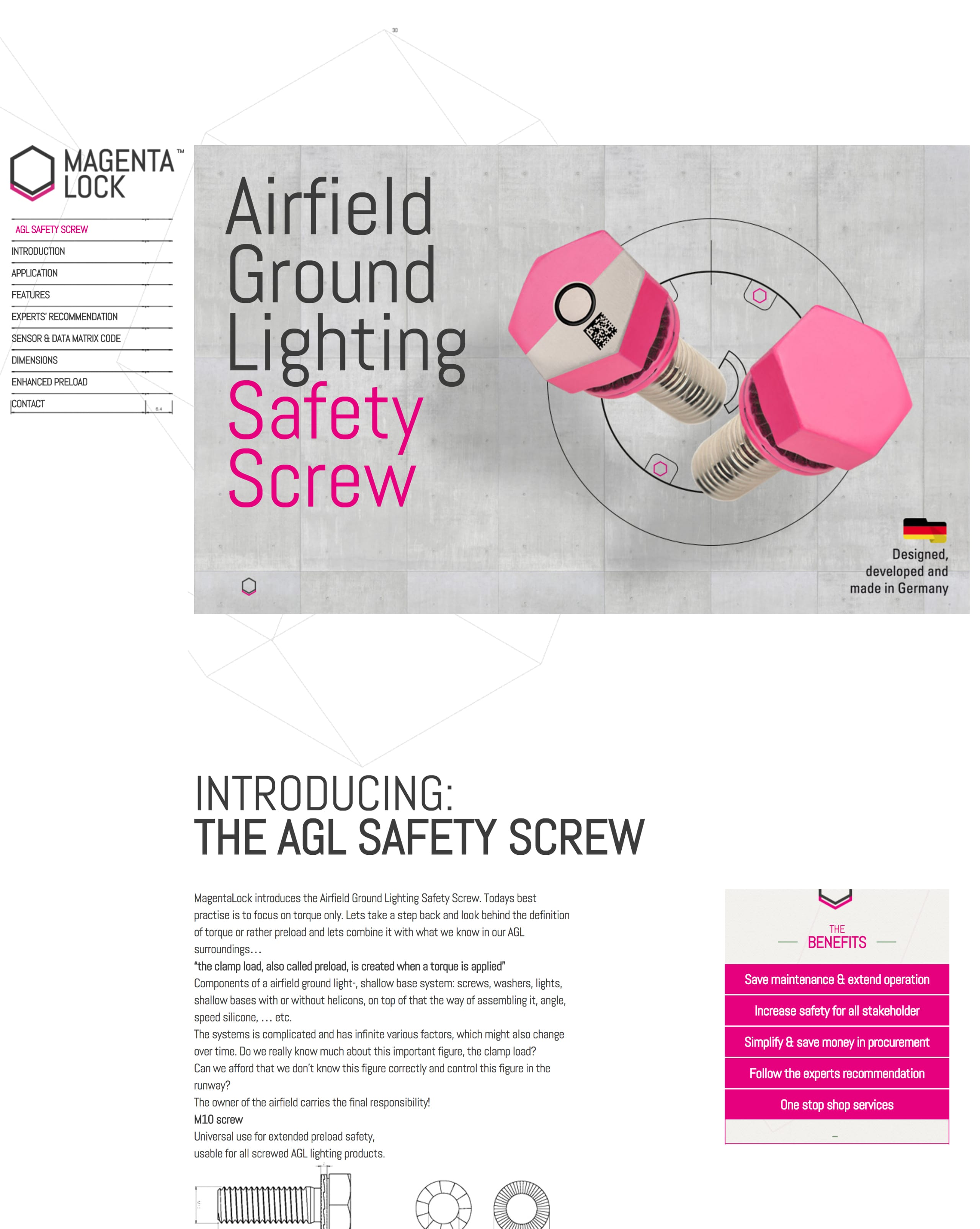 Airfield Ground Lighting Safety Screw Website Screenshot