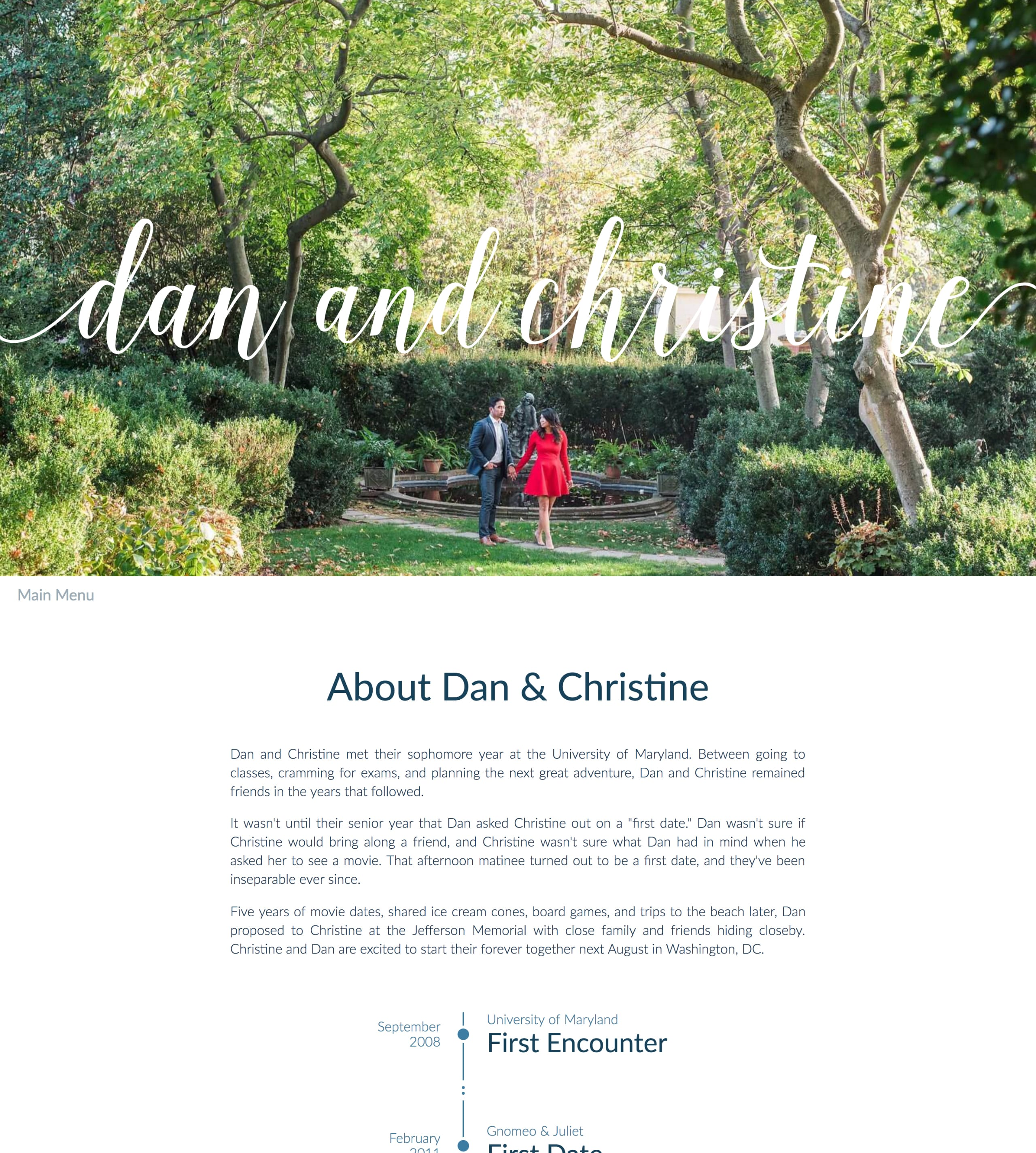 Dan + Christine Wedding Website Screenshot