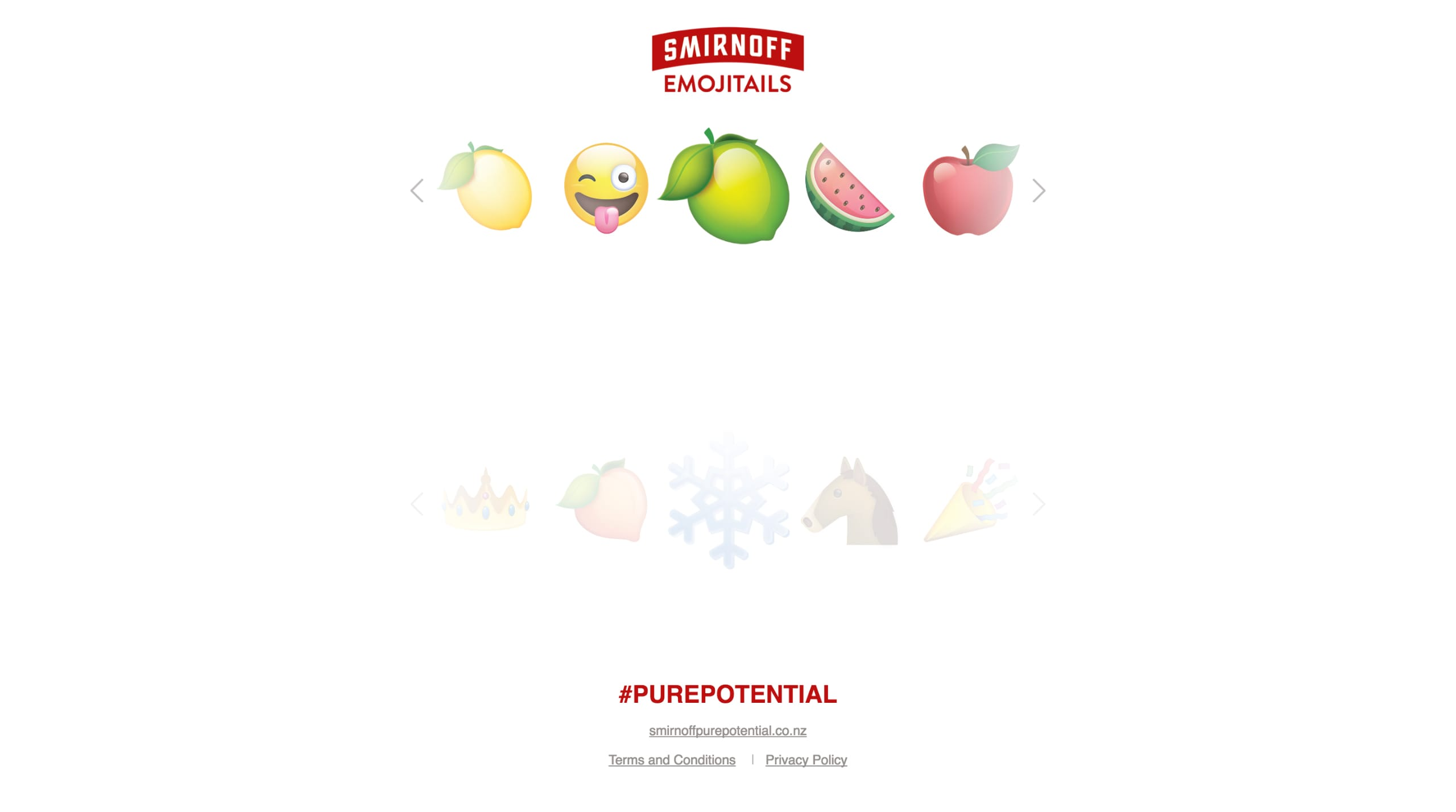 Smirnoff Emojitails Website Screenshot