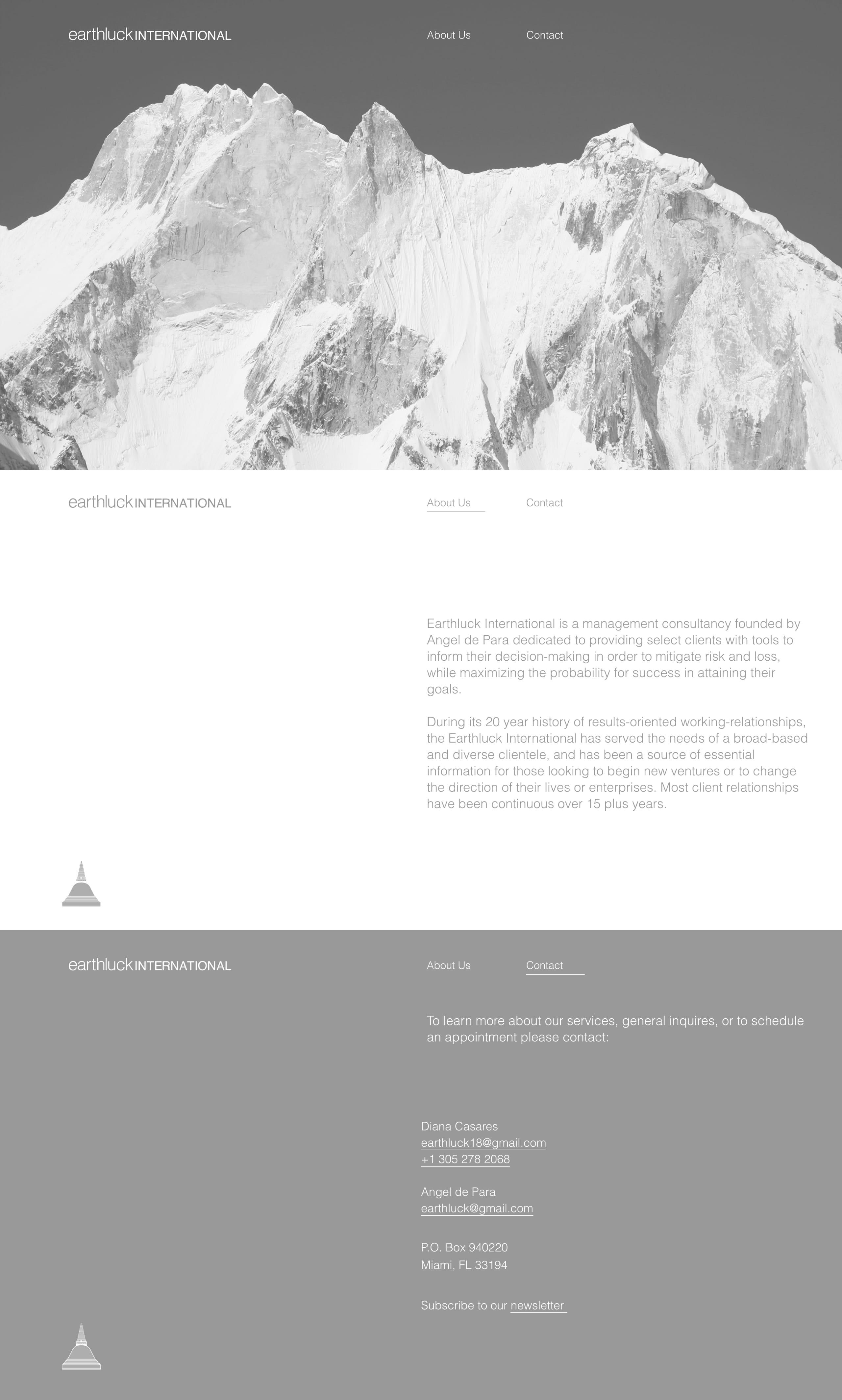 Earthluck International Website Screenshot