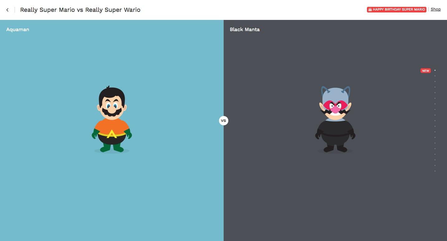 Really Super Mario vs Really Super Wario Website Screenshot