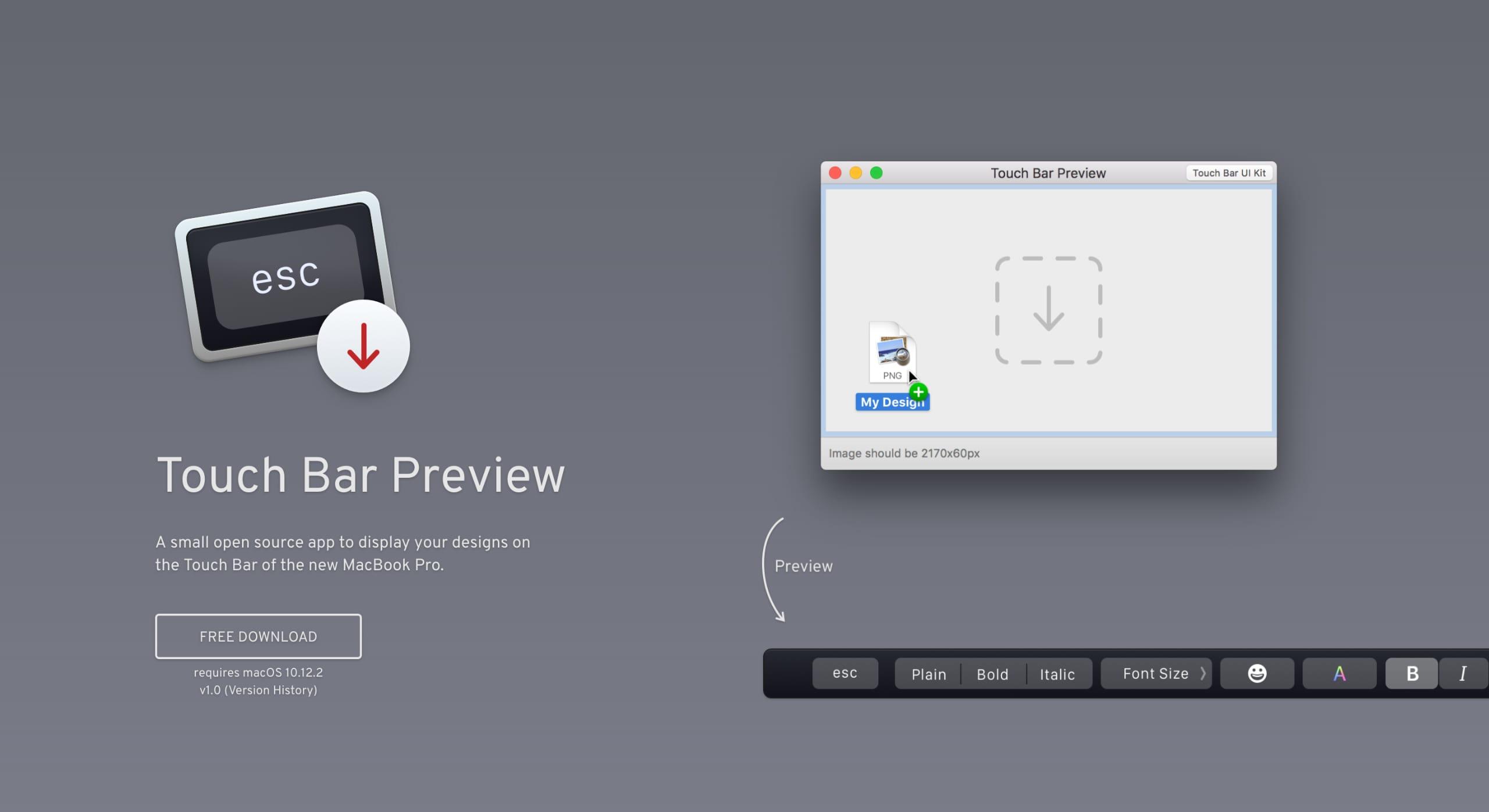 Touch Bar Preview Website Screenshot