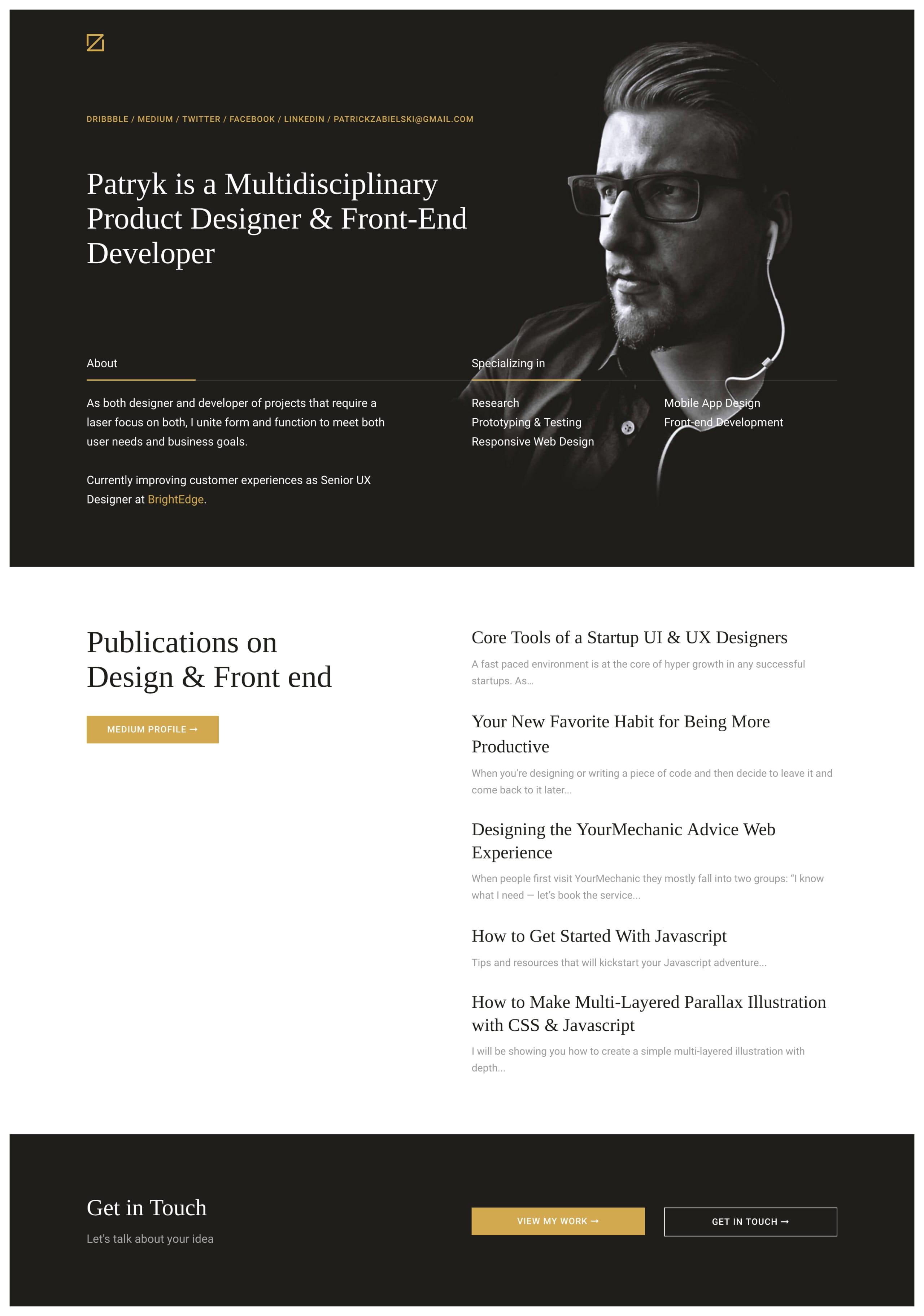 Patryk Zabielski Website Screenshot