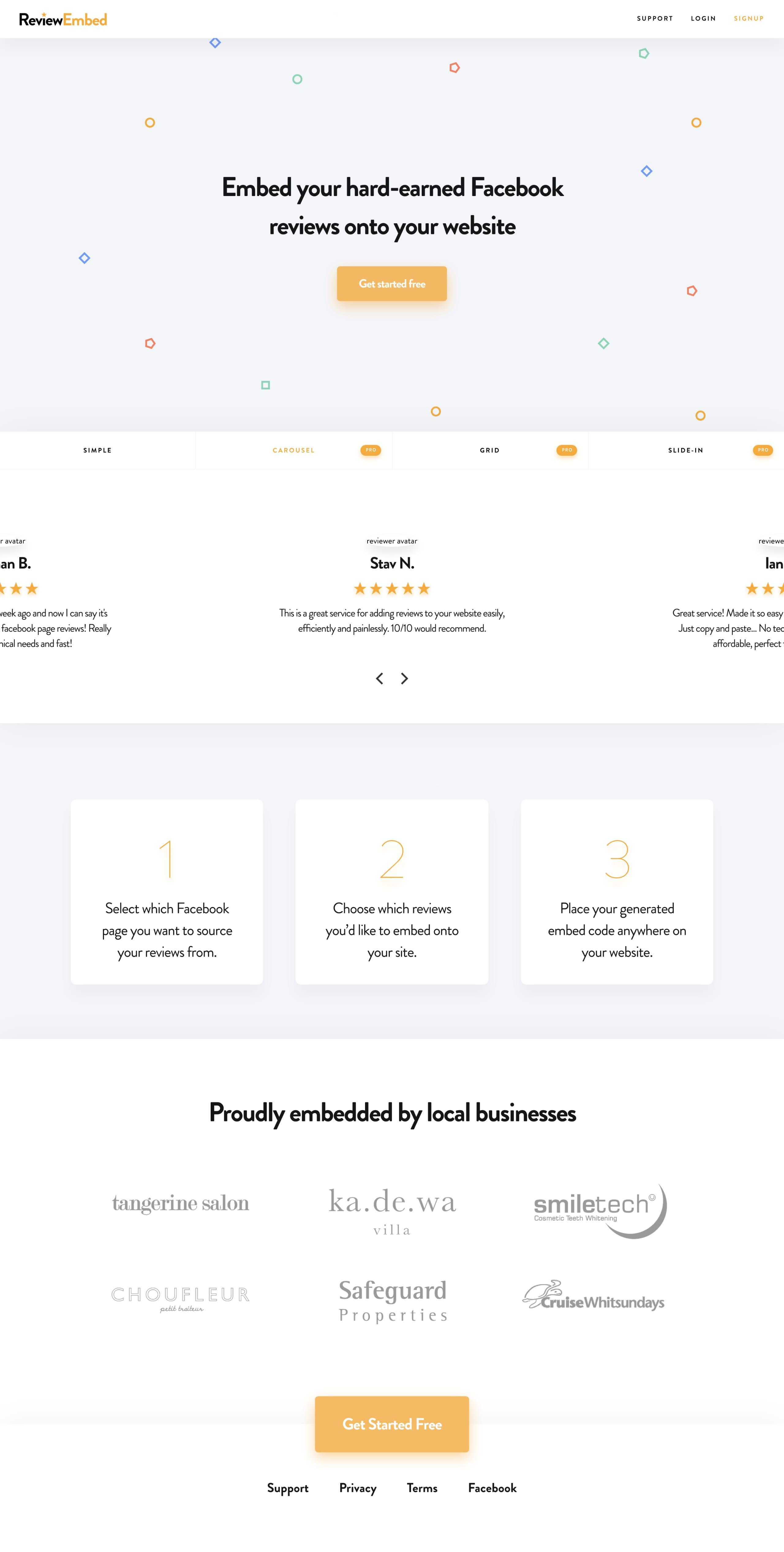 ReviewEmbed Website Screenshot