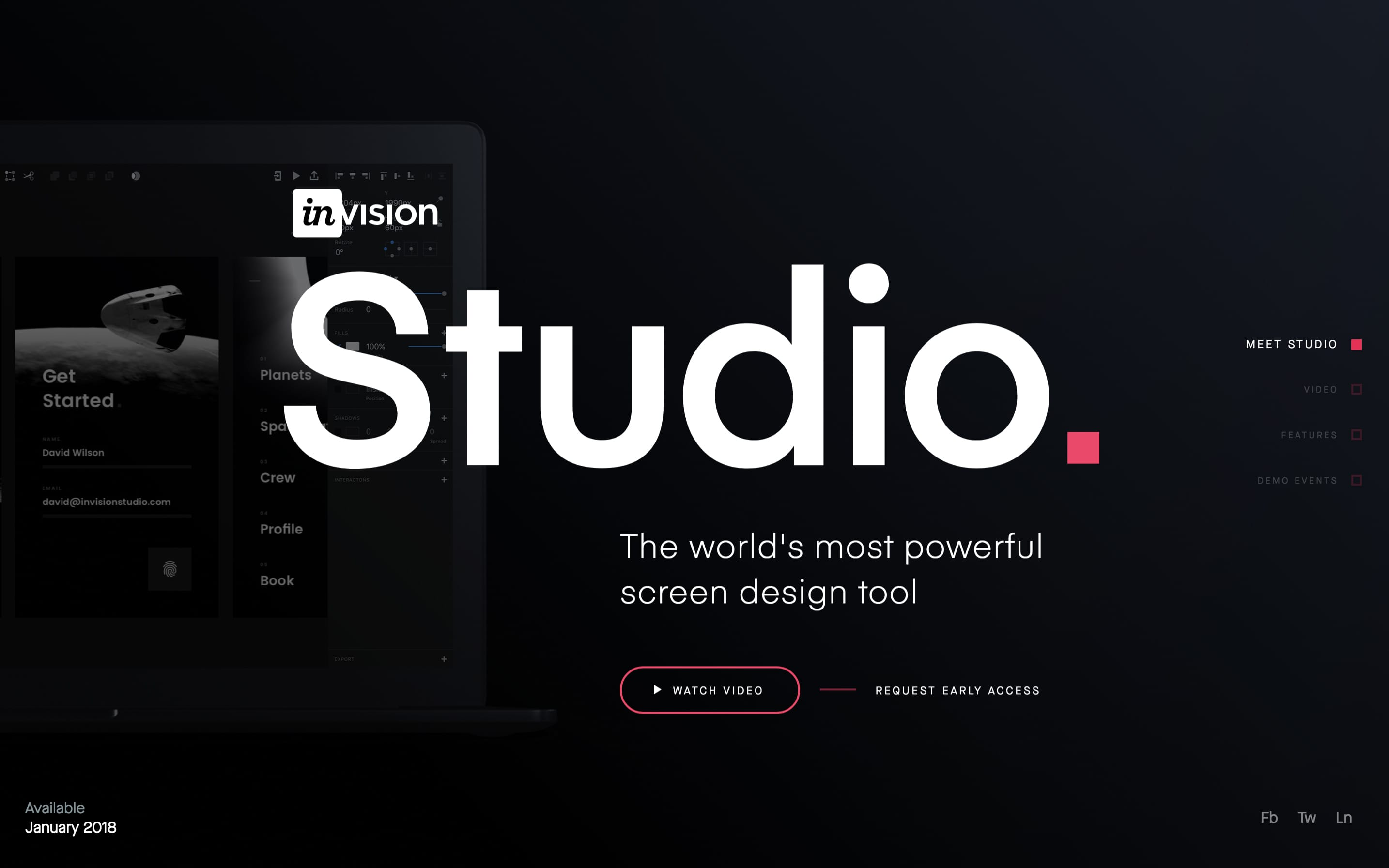 InVision Studio Website Screenshot