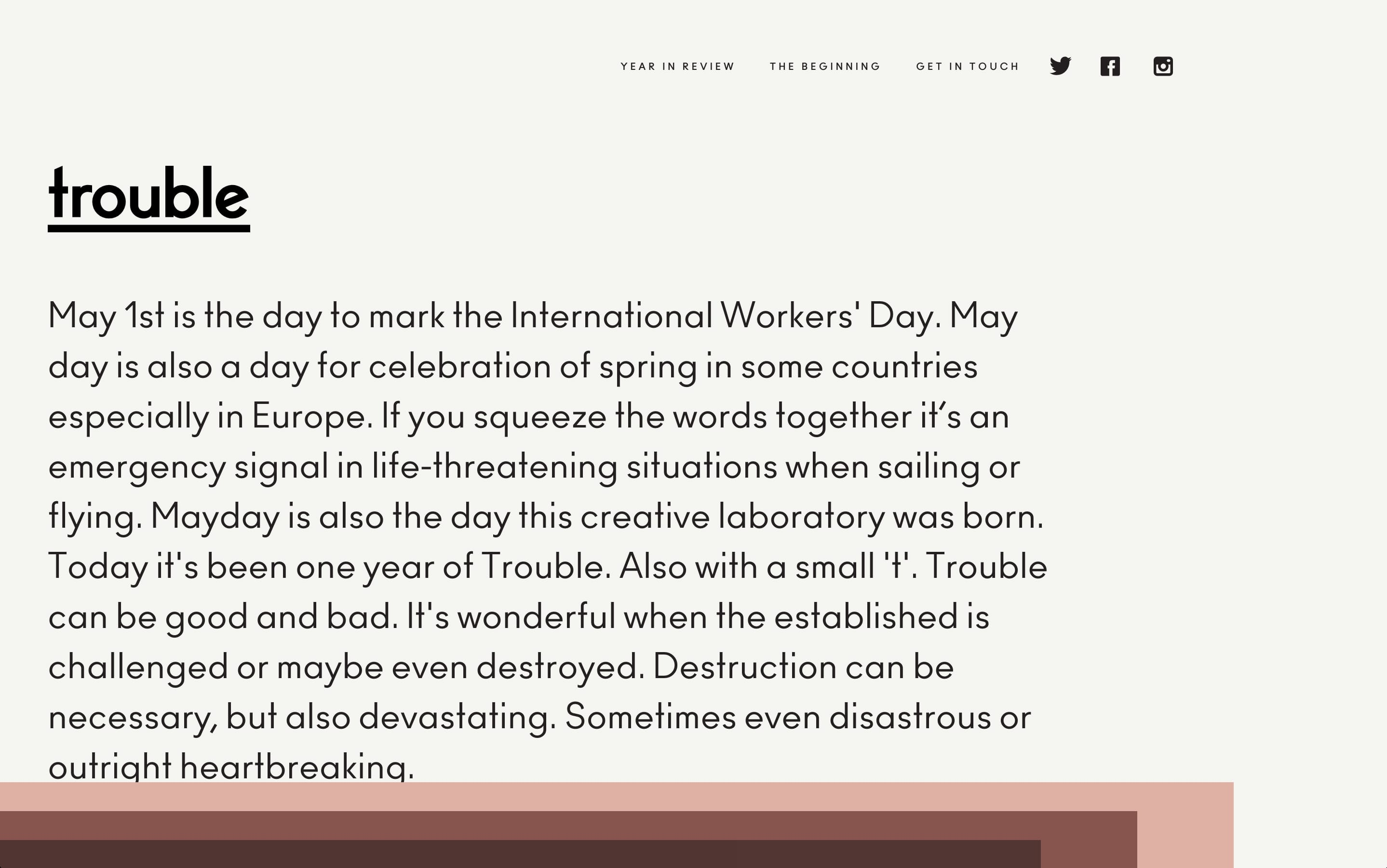 Trouble Website Screenshot