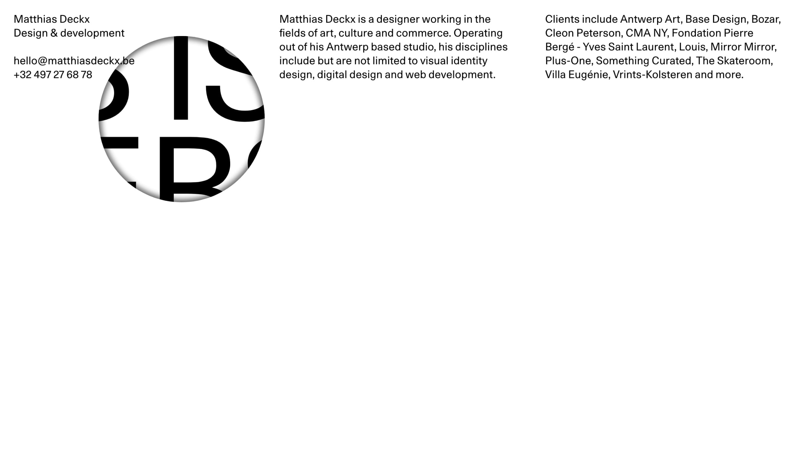 Matthias Deckx Website Screenshot