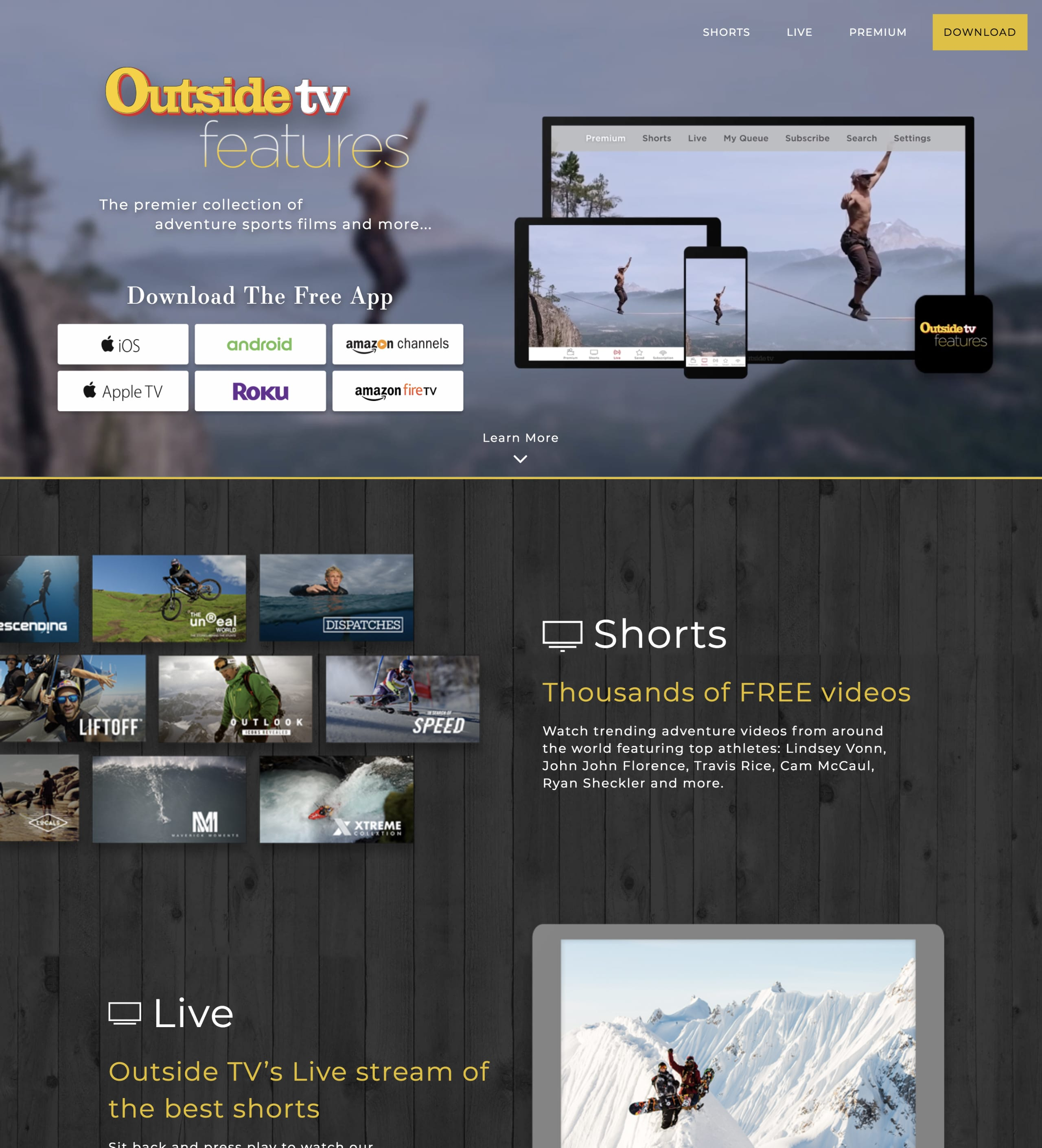 Outside TV Features Website Screenshot