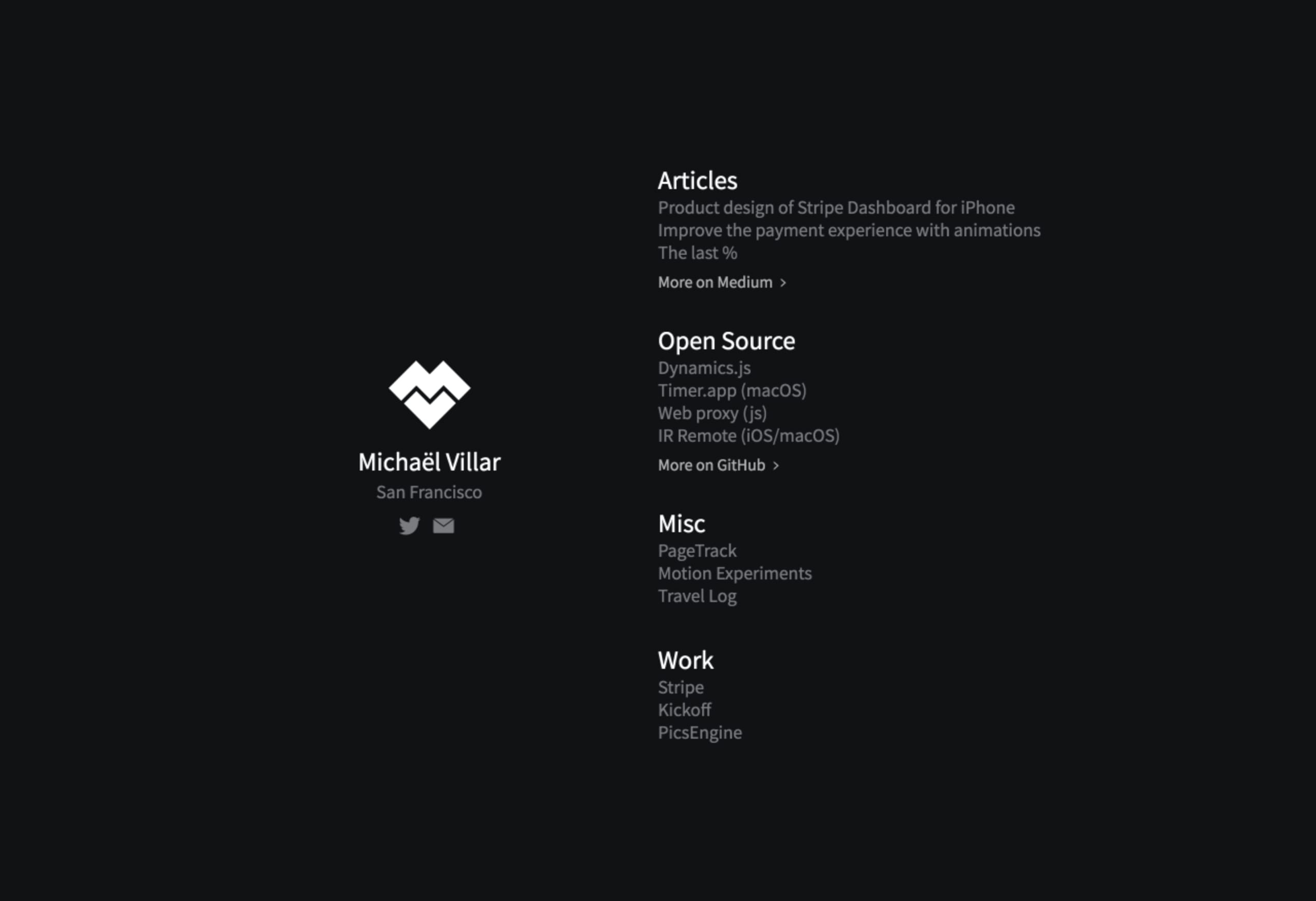 Michaël Villar Website Screenshot