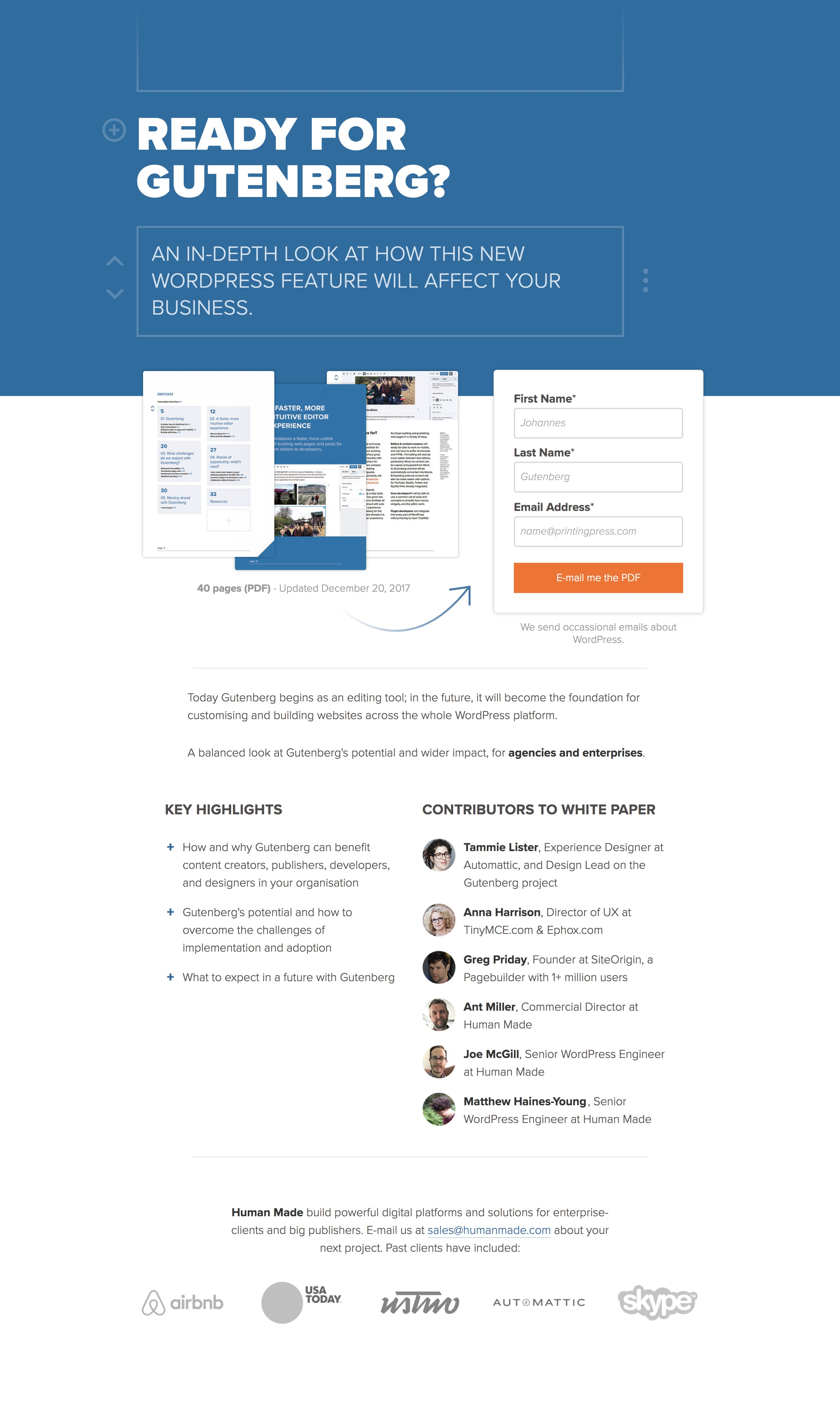 Gutenberg White Paper Website Screenshot