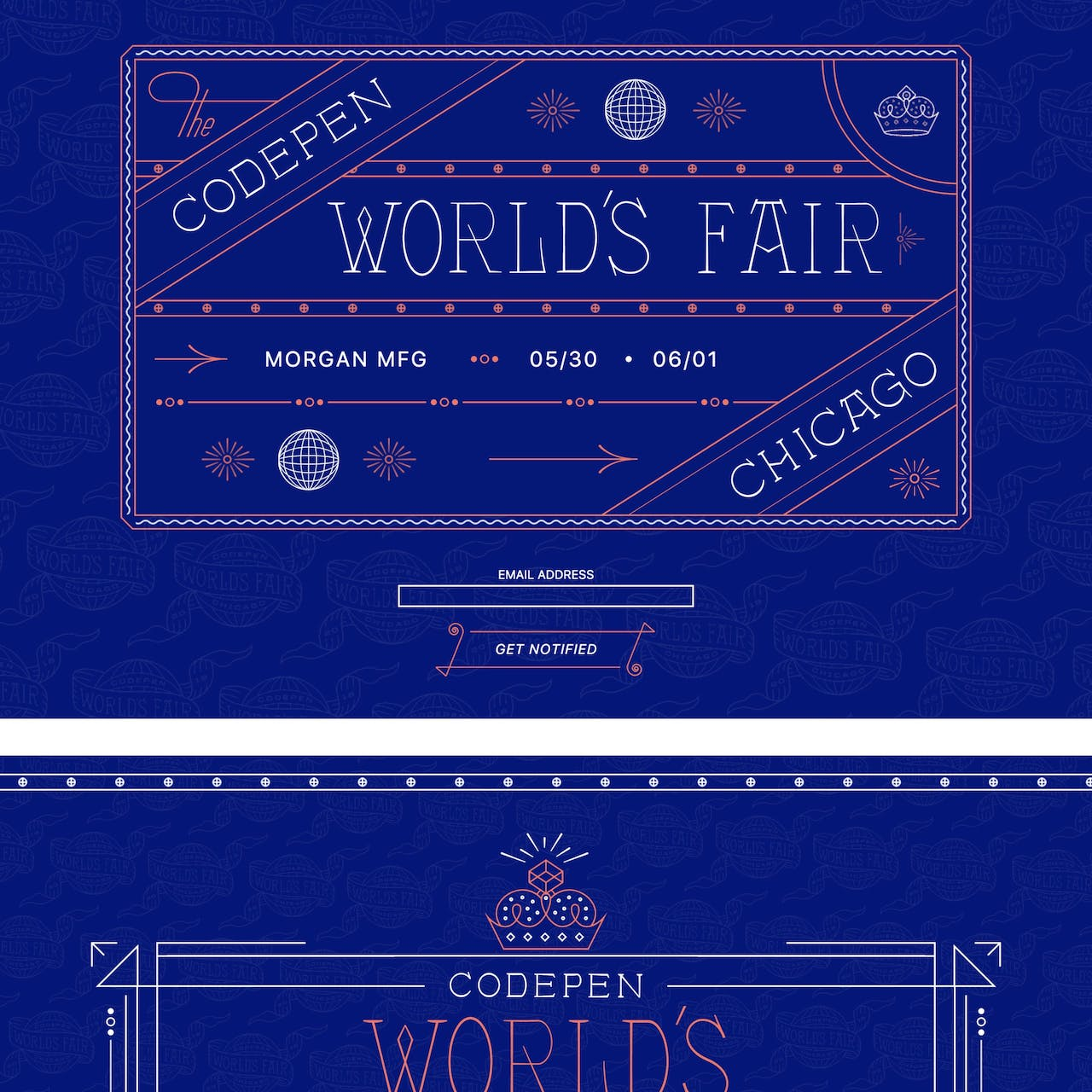 CodePen World's Fair Website Screenshot