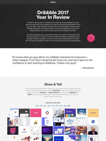 Dribbble 2017 Year In Review Thumbnail Preview
