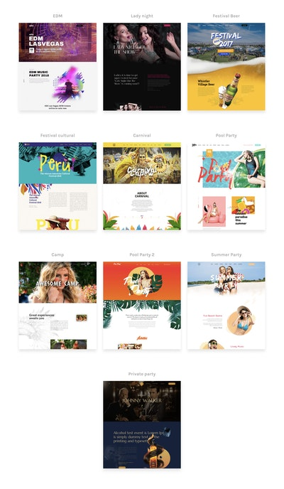 One Page Event Templates