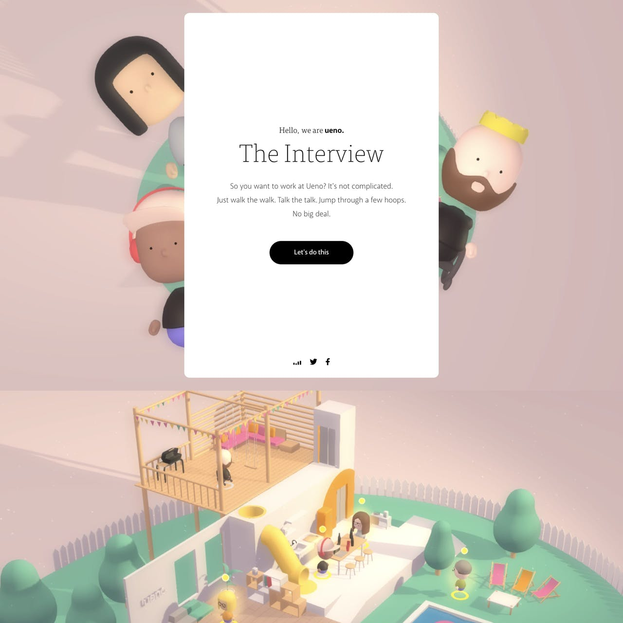 Ueno. 3D Interview Website Screenshot