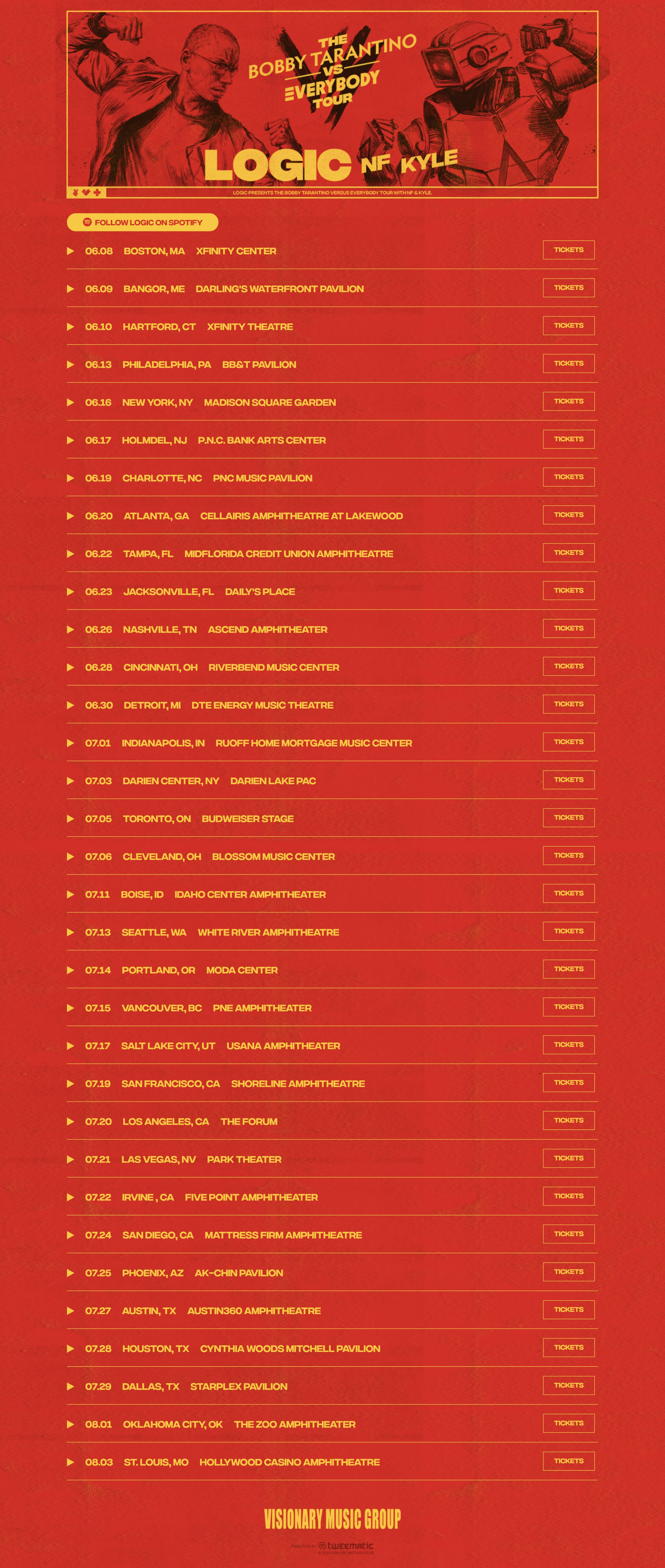 Bobby Tarantino Vs Everybody Tour Website Screenshot