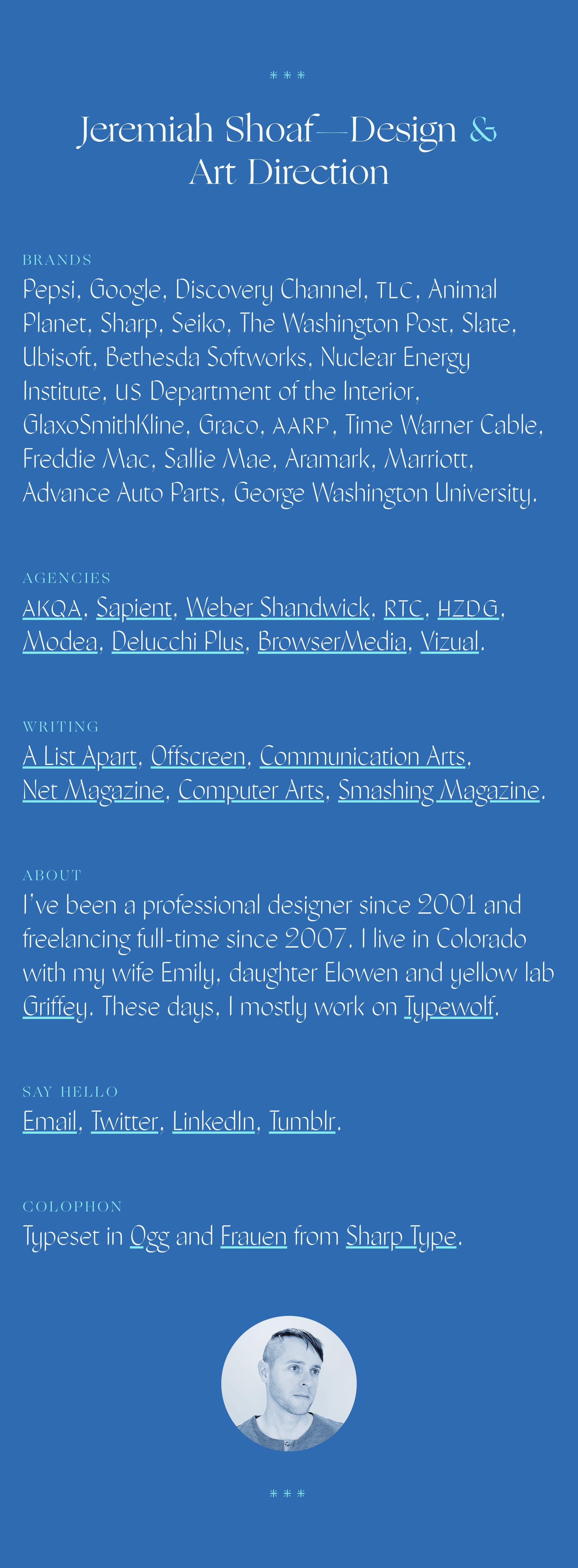 Jeremiah Shoaf Website Screenshot