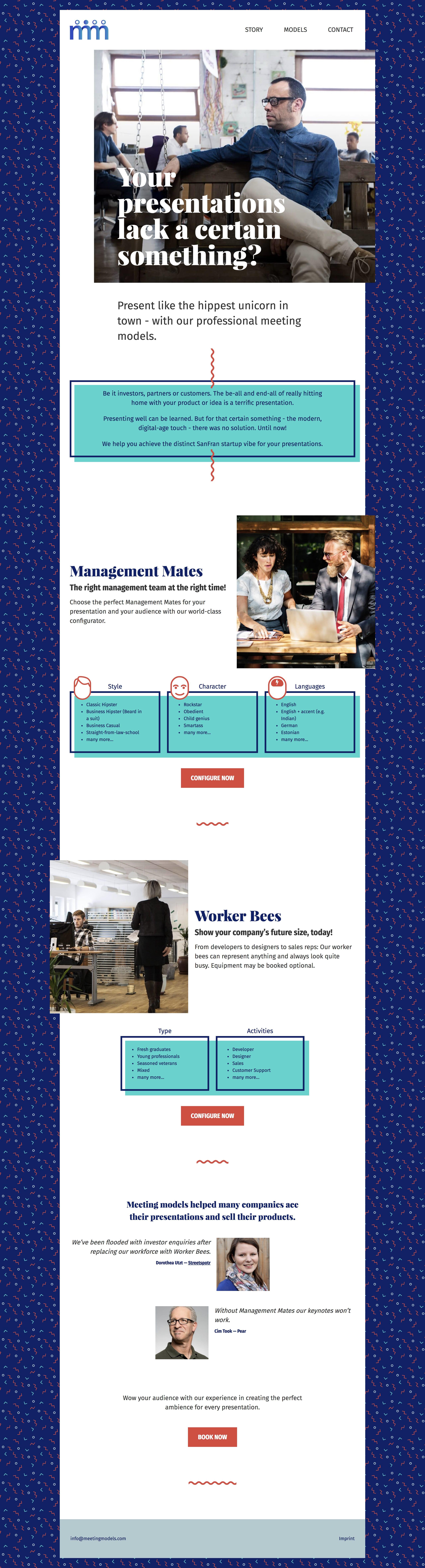 Meeting Models Website Screenshot