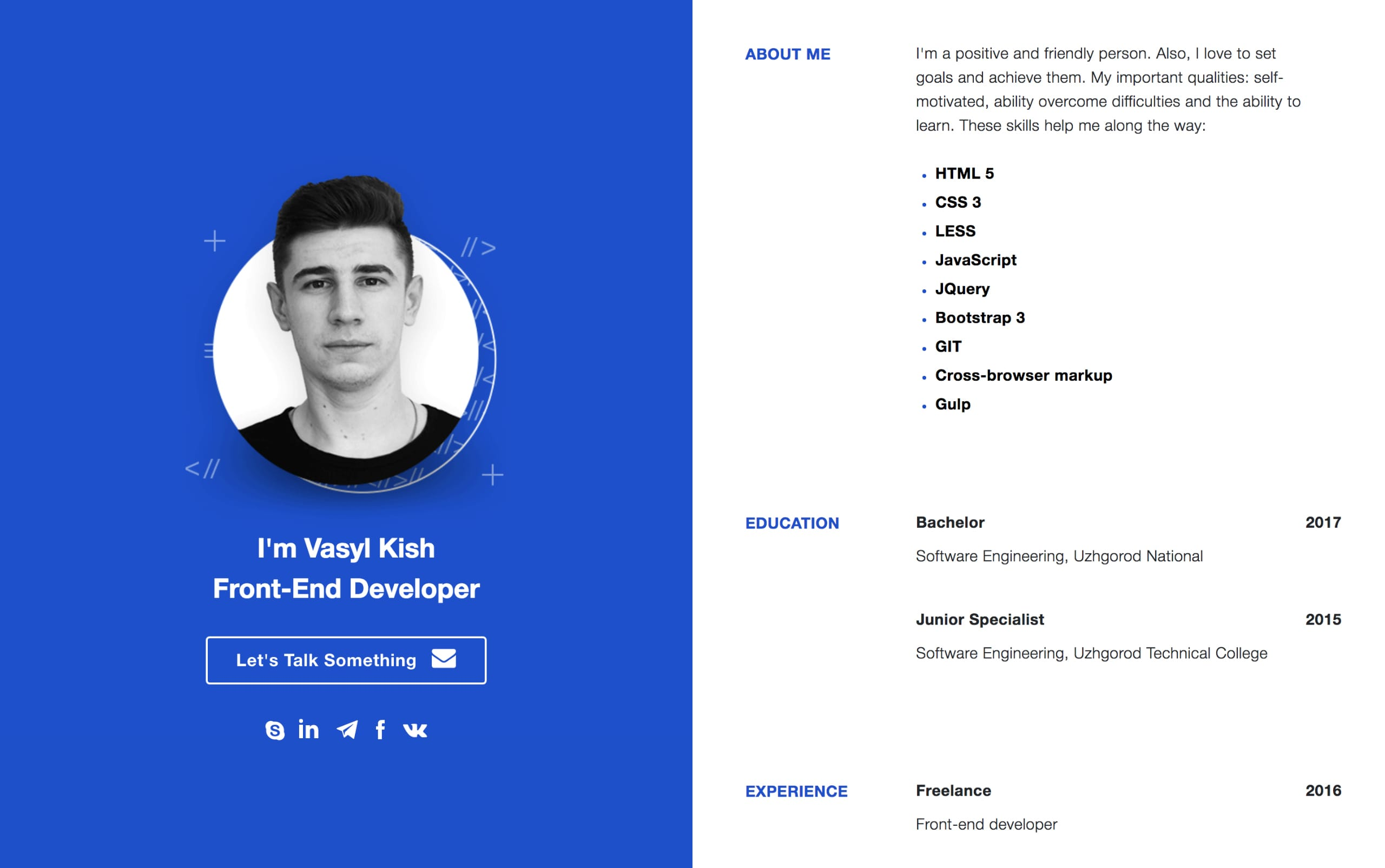 Vasyl Kish Website Screenshot