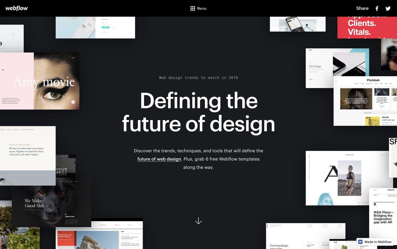 Webflow Design Trends 2018 Website Screenshot