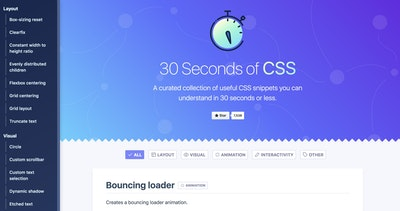 30 Seconds of CSS Thumbnail Preview