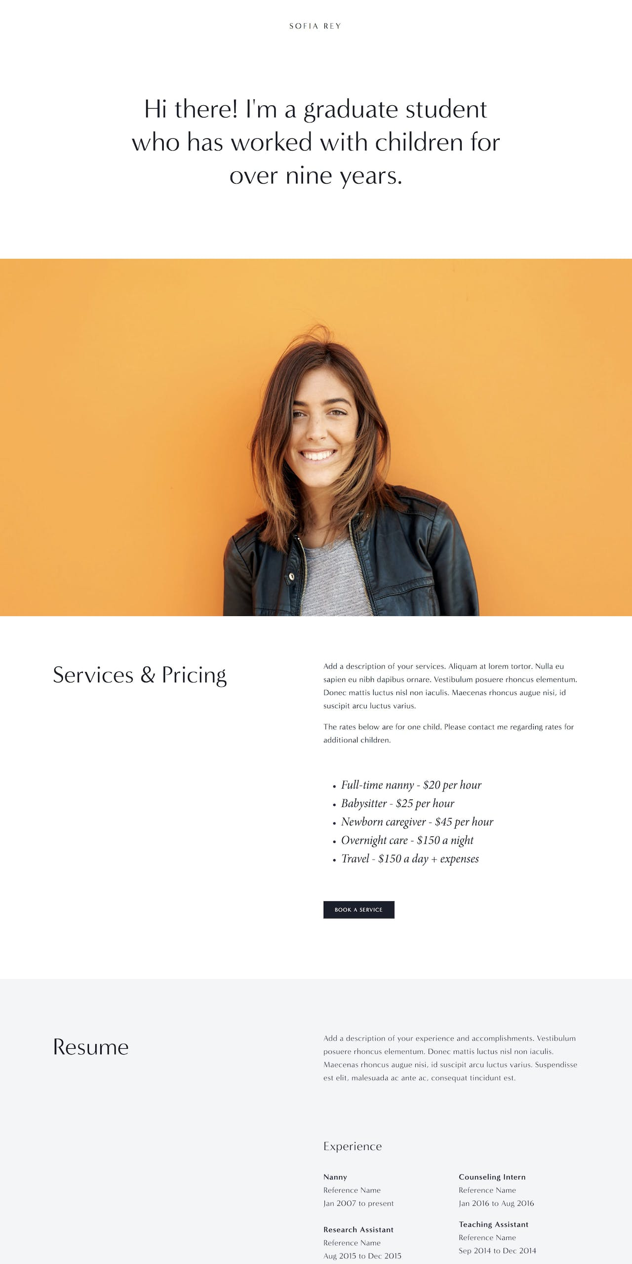 Sofia Squarespace Template Screenshot