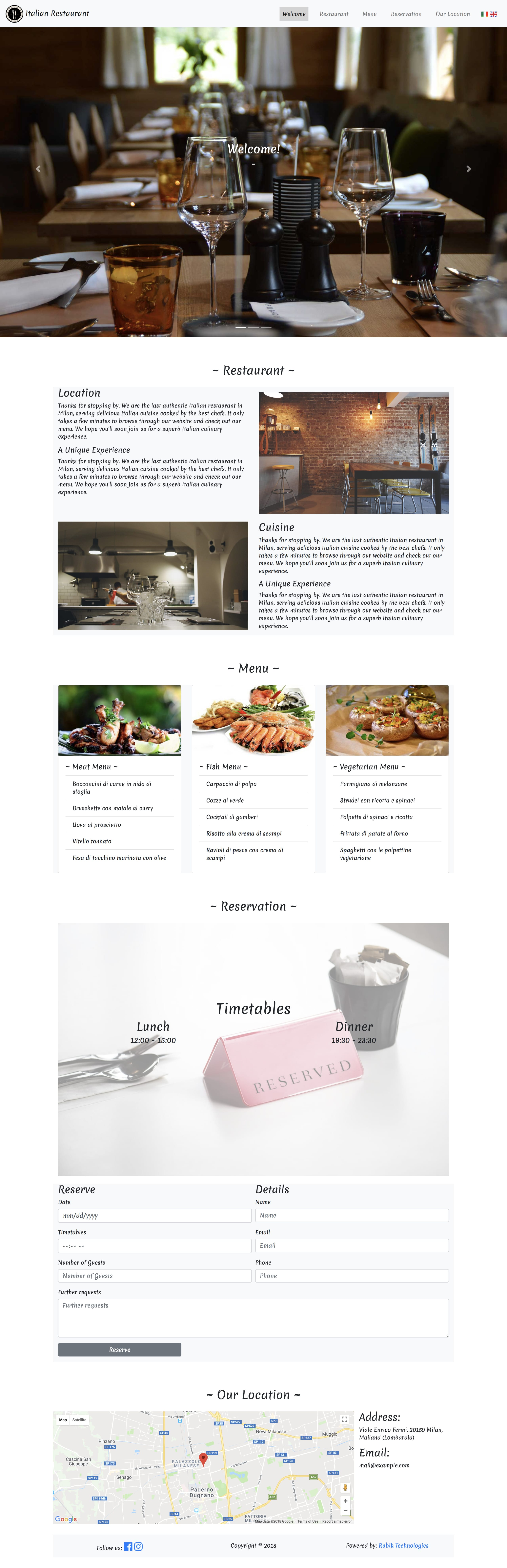 Ristorante Website Screenshot