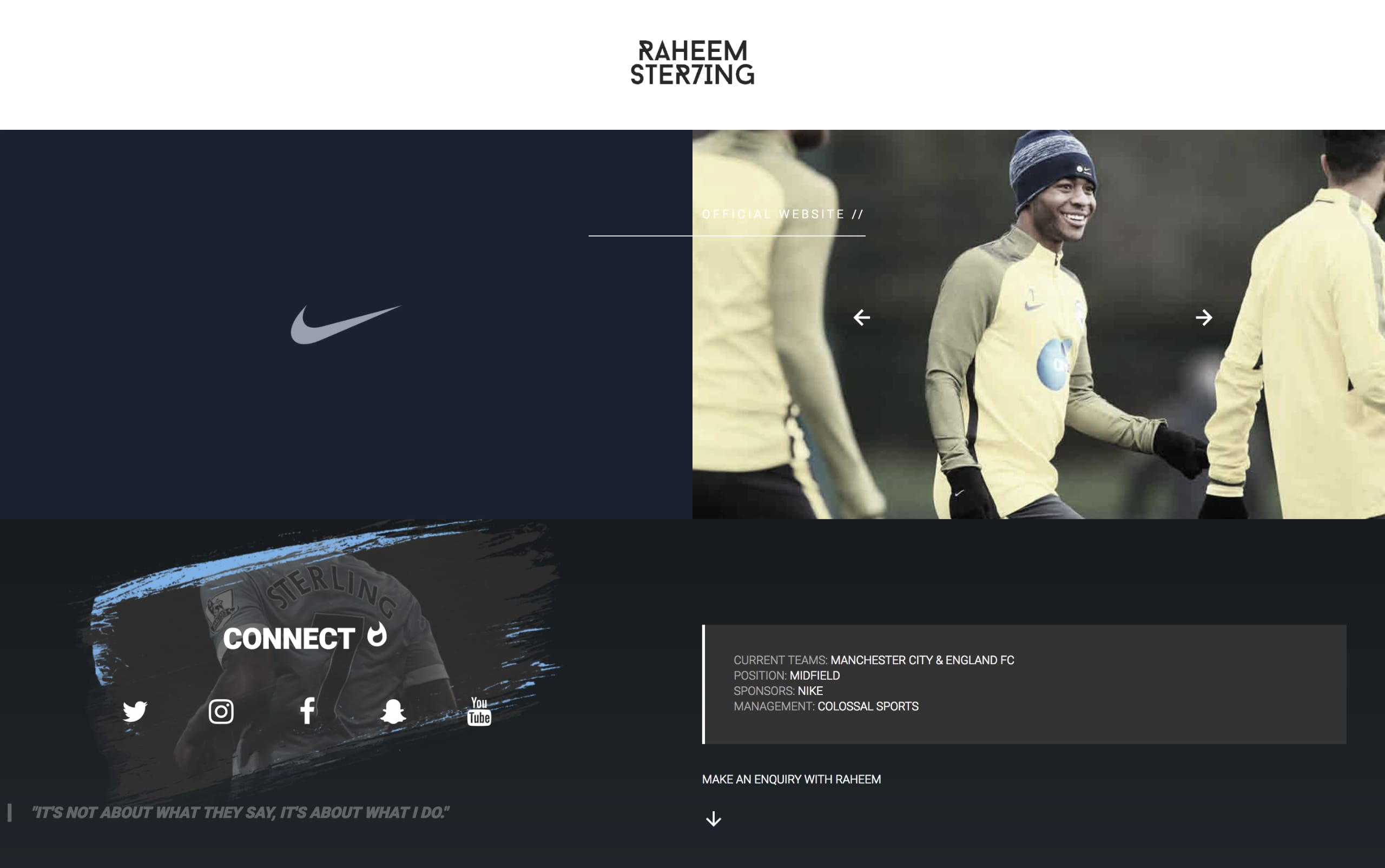 Raheem Sterling Website Screenshot